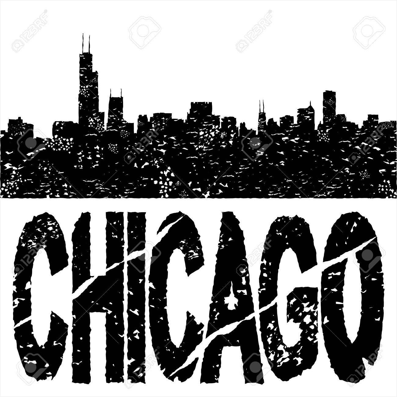 Grunge Chicago skyline with text illustration Stock Illustration - 10679257