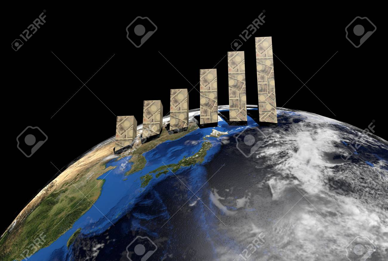 Yen graph on globe showing Japan illustration Stock Illustration - 11085632