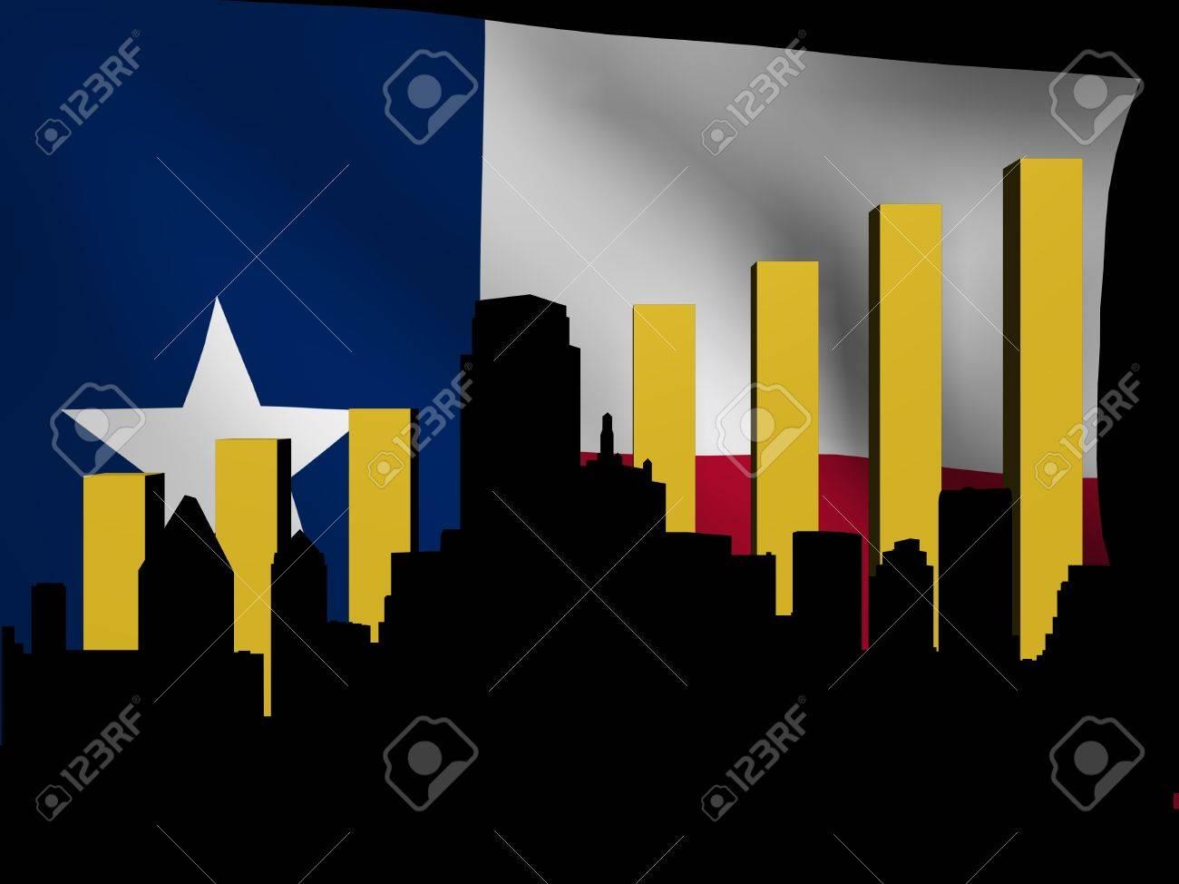 Dallas skyline and graph over Texan flag illustration Stock Illustration - 13008205