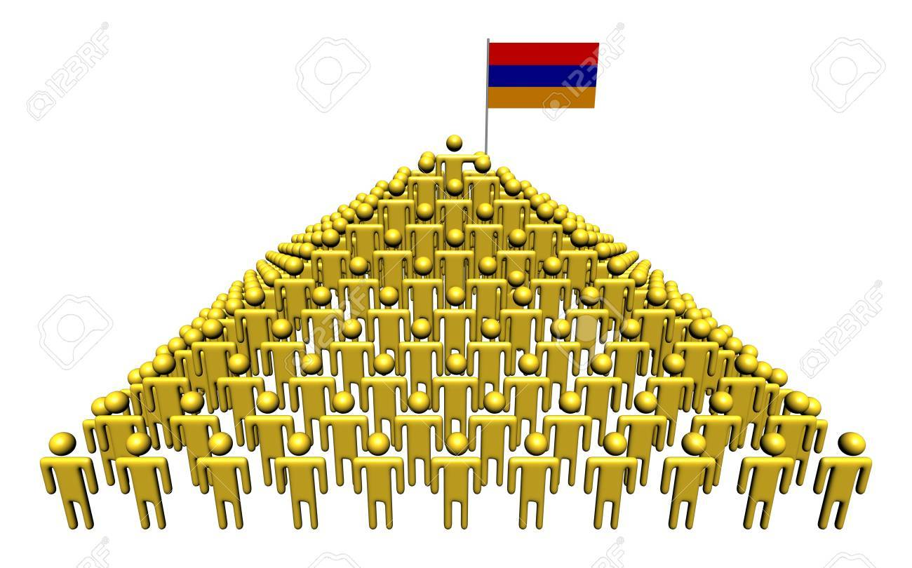Pyramid of abstract people with Armenian flag illustration Stock Photo - 17218633