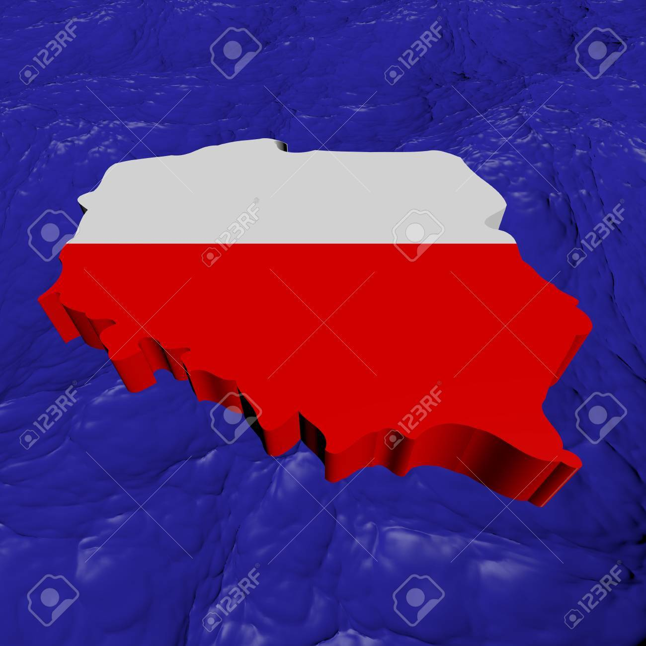 Poland Map Flag In Abstract Ocean Illustration Stock Photo, Picture ...