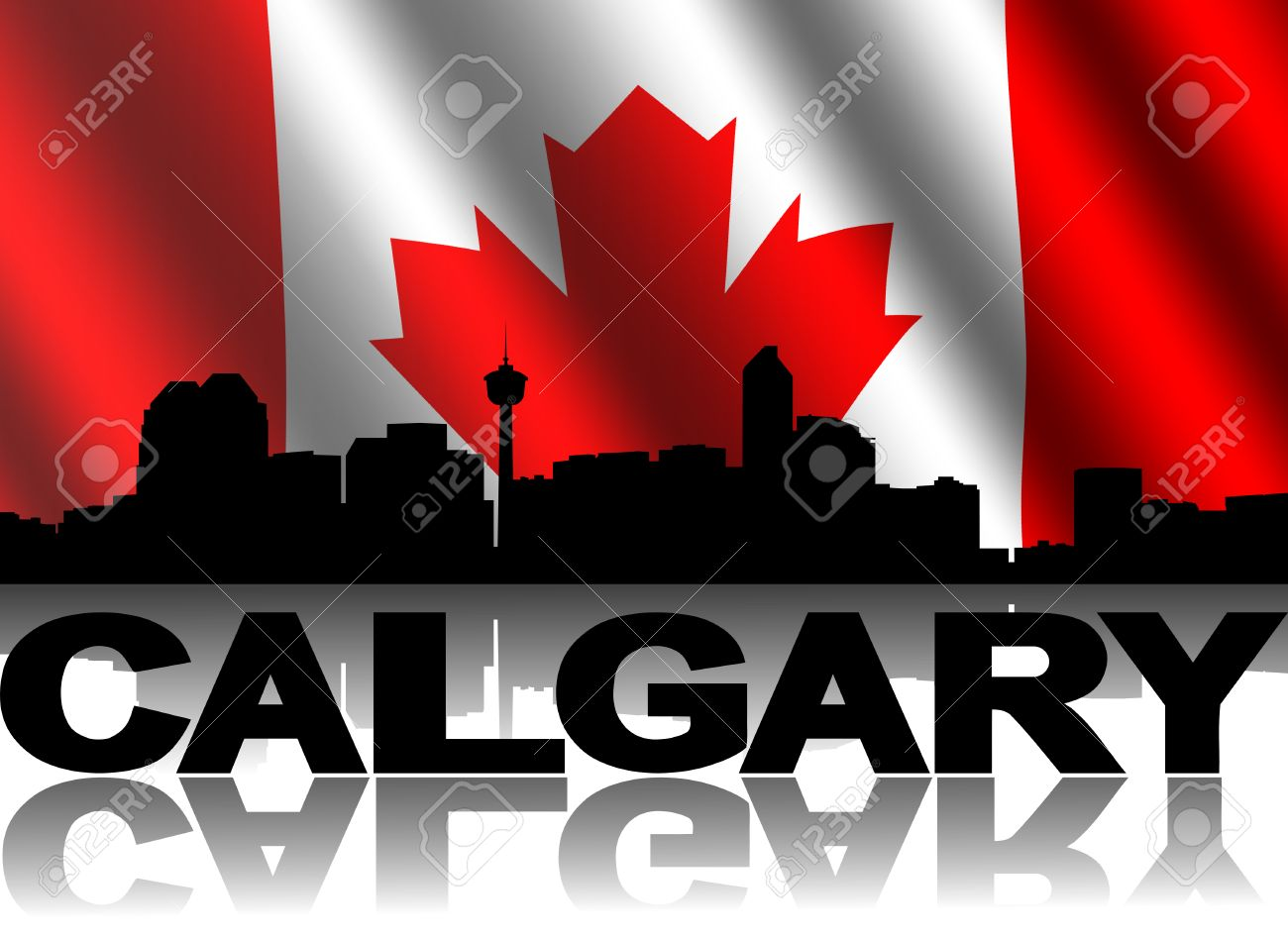 calgary skyline and text reflected with rippled canadian flag