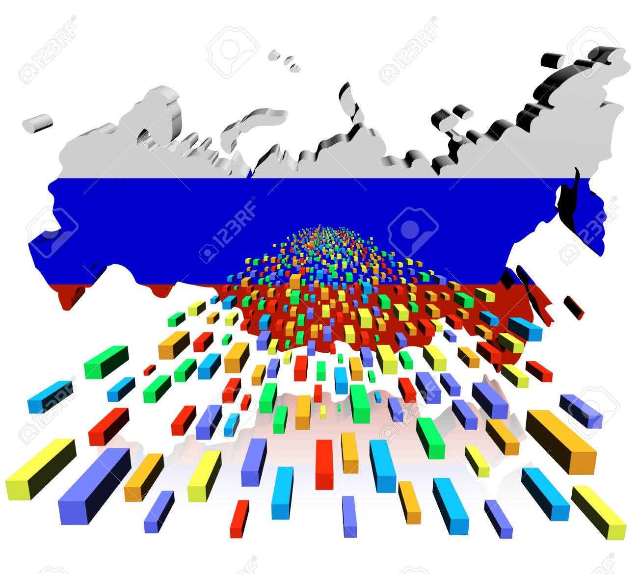 Russian Federation Map Flag Reflected With Containers Illustration