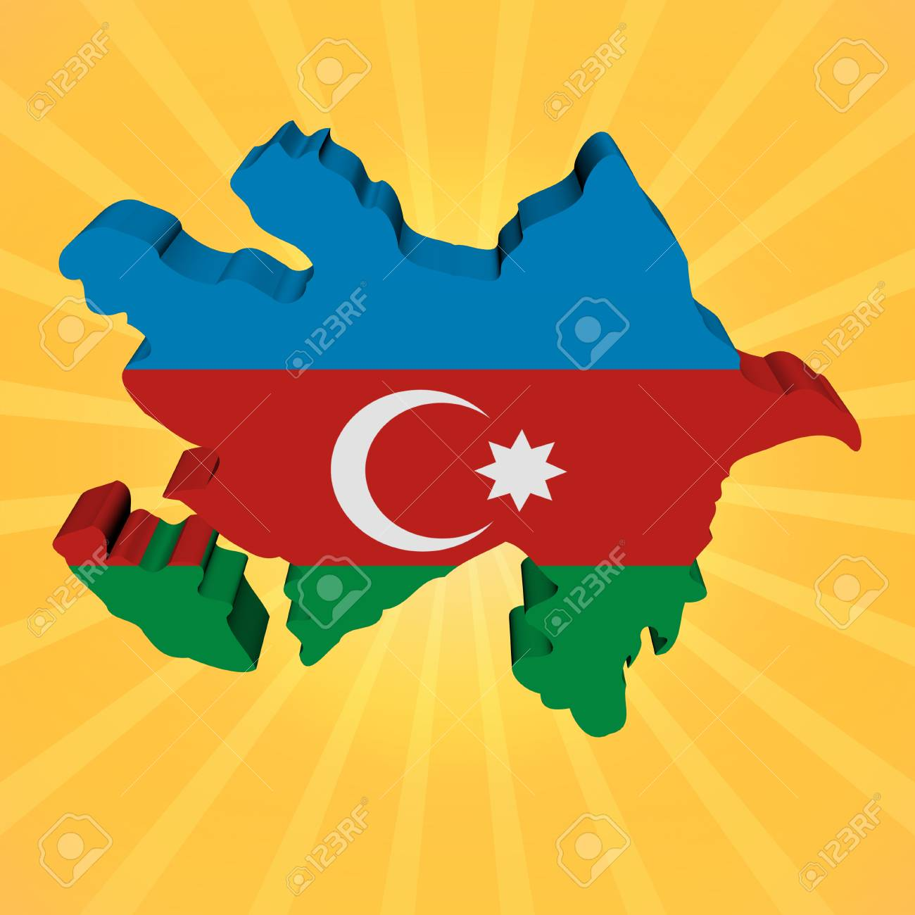 Azerbaijan Map Flag On Sunburst Illustration Stock Photo Picture And Royalty Free Image Image 29618371