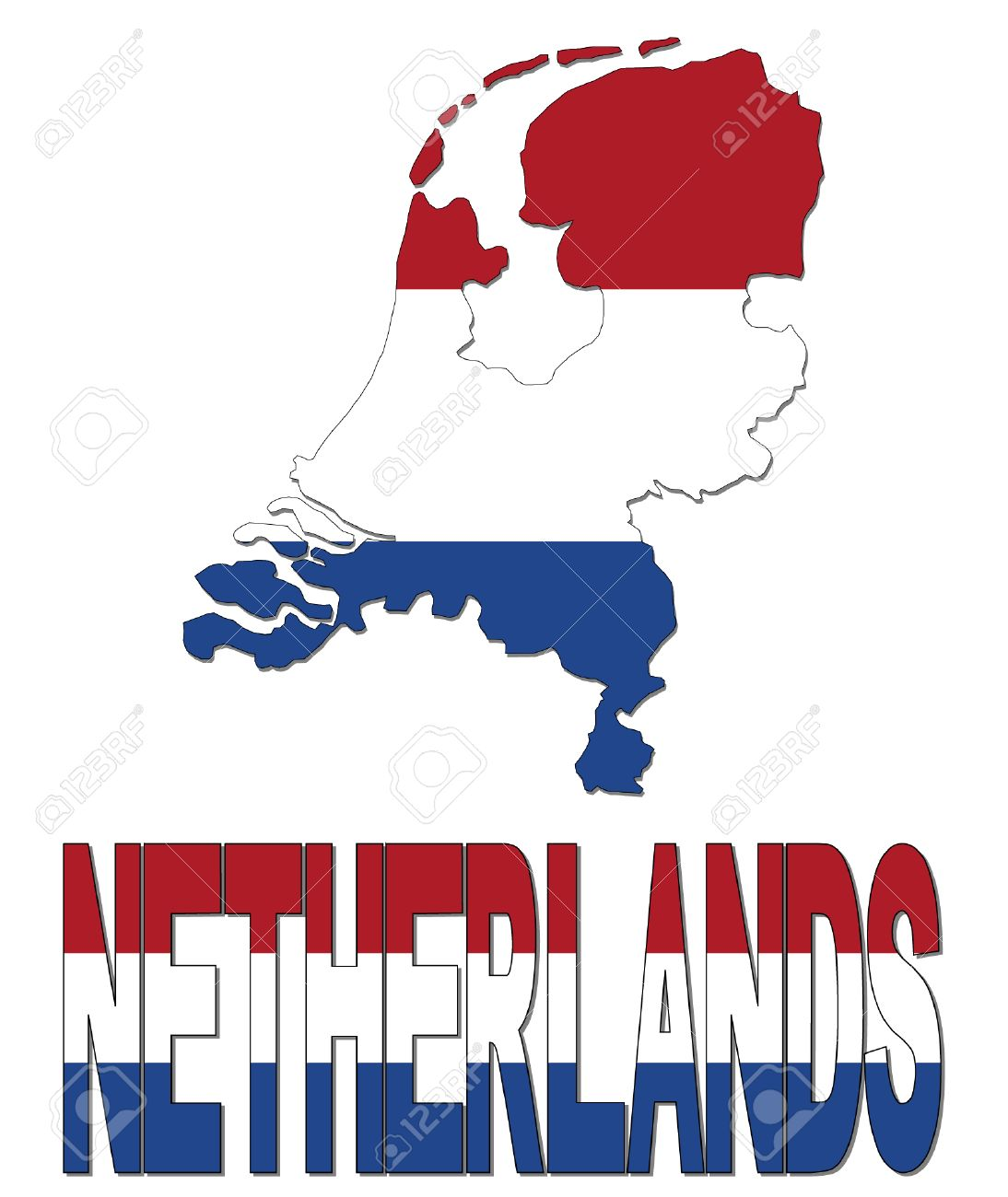 Netherlands Map Flag And Text Illustration Royalty Free Cliparts