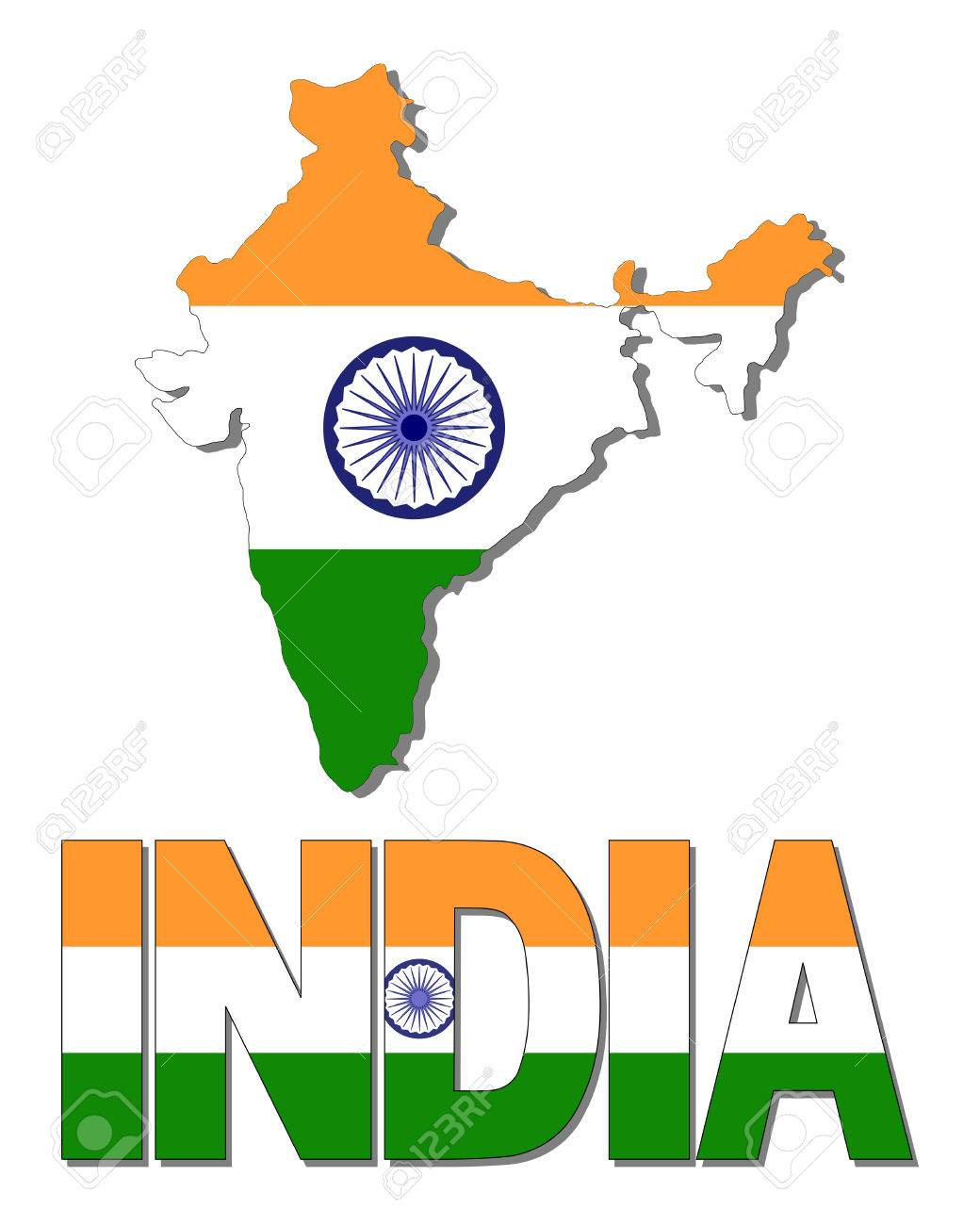 India Map Flag.India Map Flag And Text Illustration Stock Photo Picture And