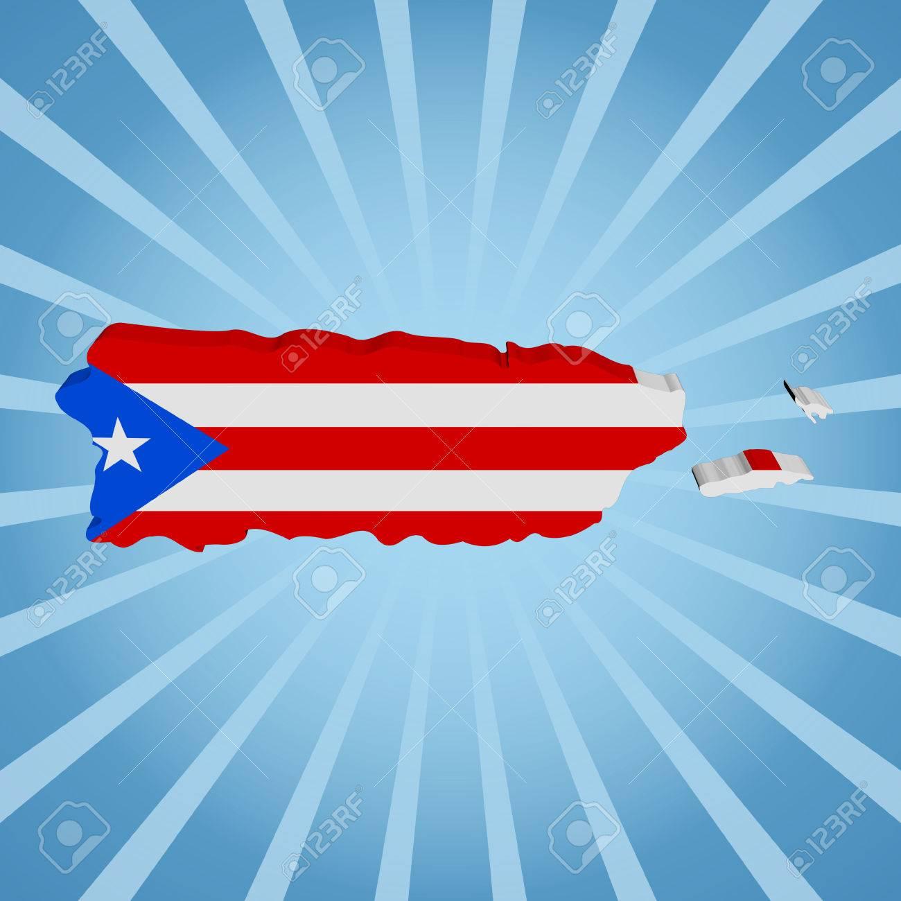 Puerto Rico Bandera De Mapa En La Ilustración Azul Del Resplandor ...