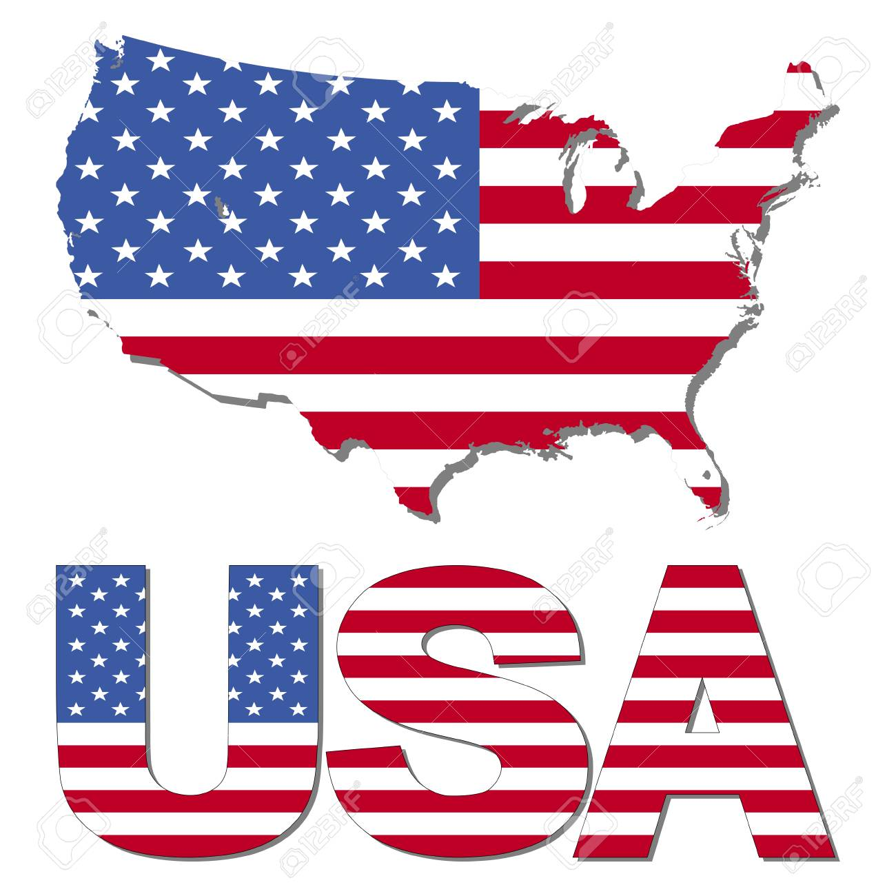 USA Map Flag And Text Illustration Stock Photo, Picture And Royalty ...