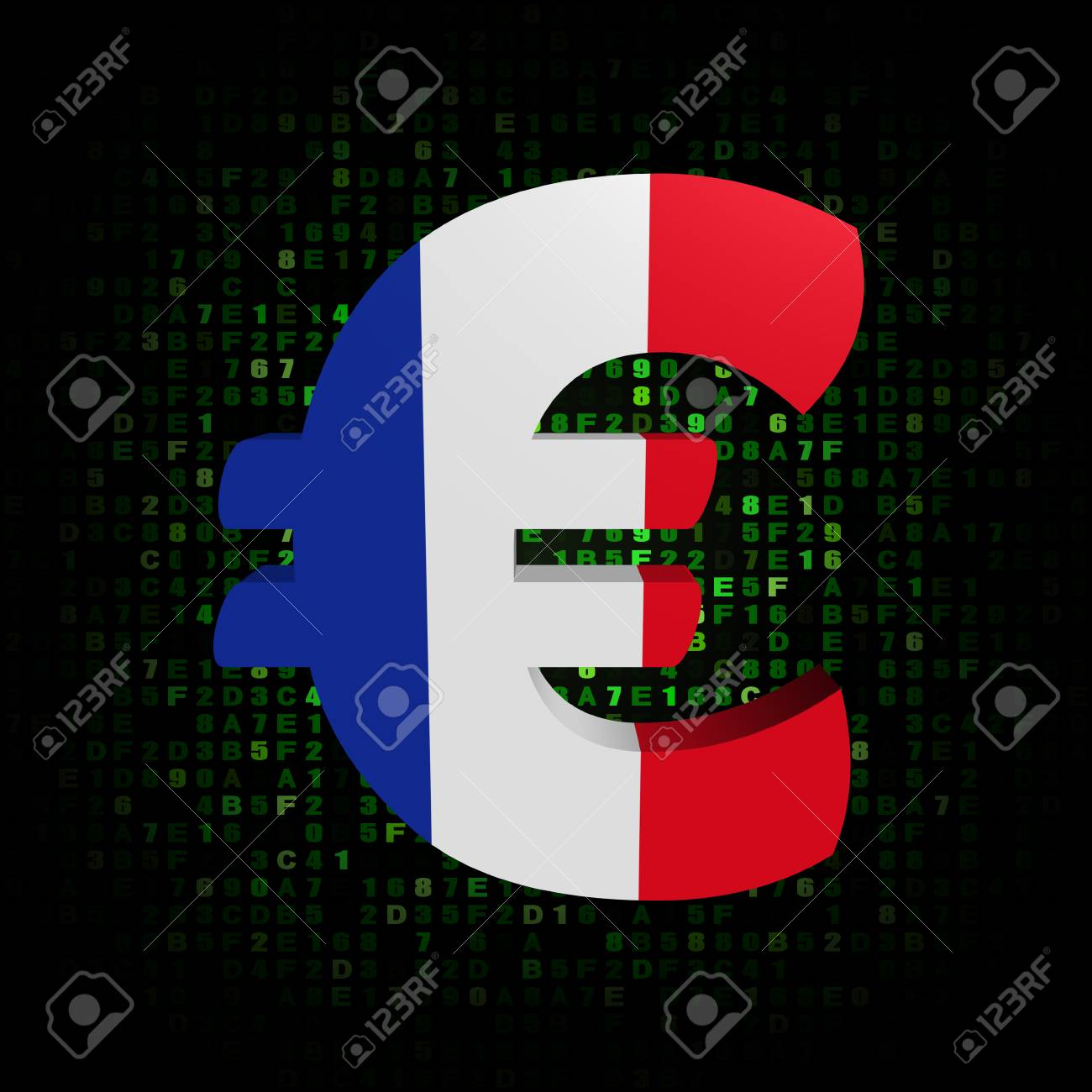Euro Symbol With French Flag On Hex Code Illustration Stock Photo