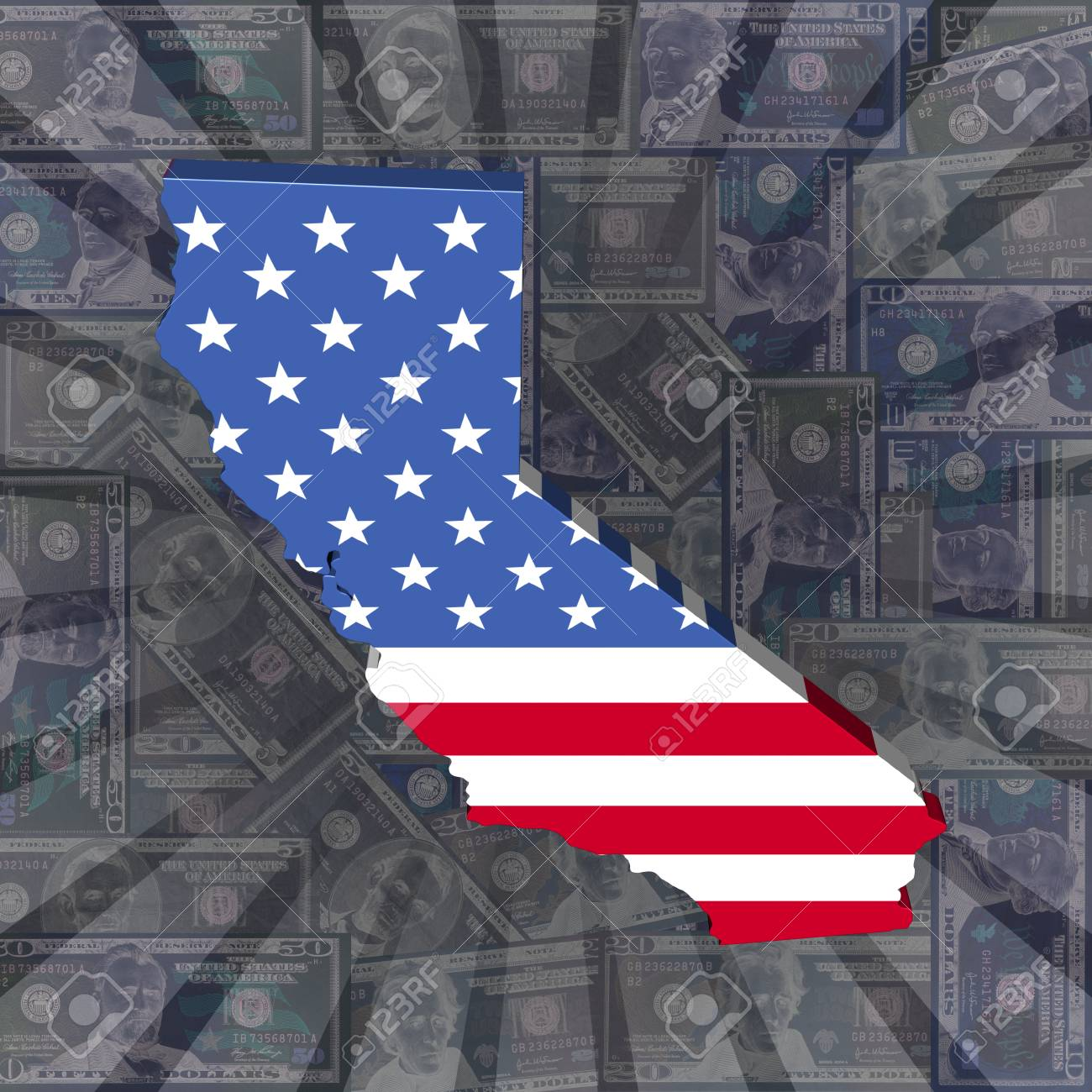 California map flag on dollars sunburst illustration