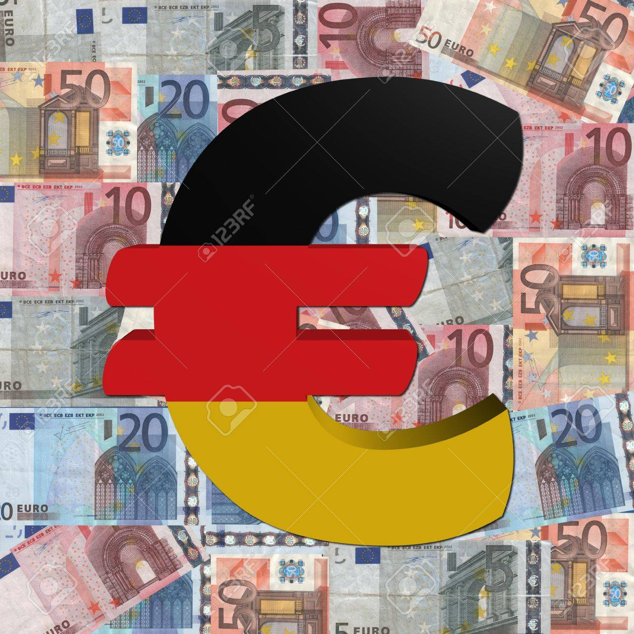 Euro Symbol With German Flag On Euro Currency Illustration Stock