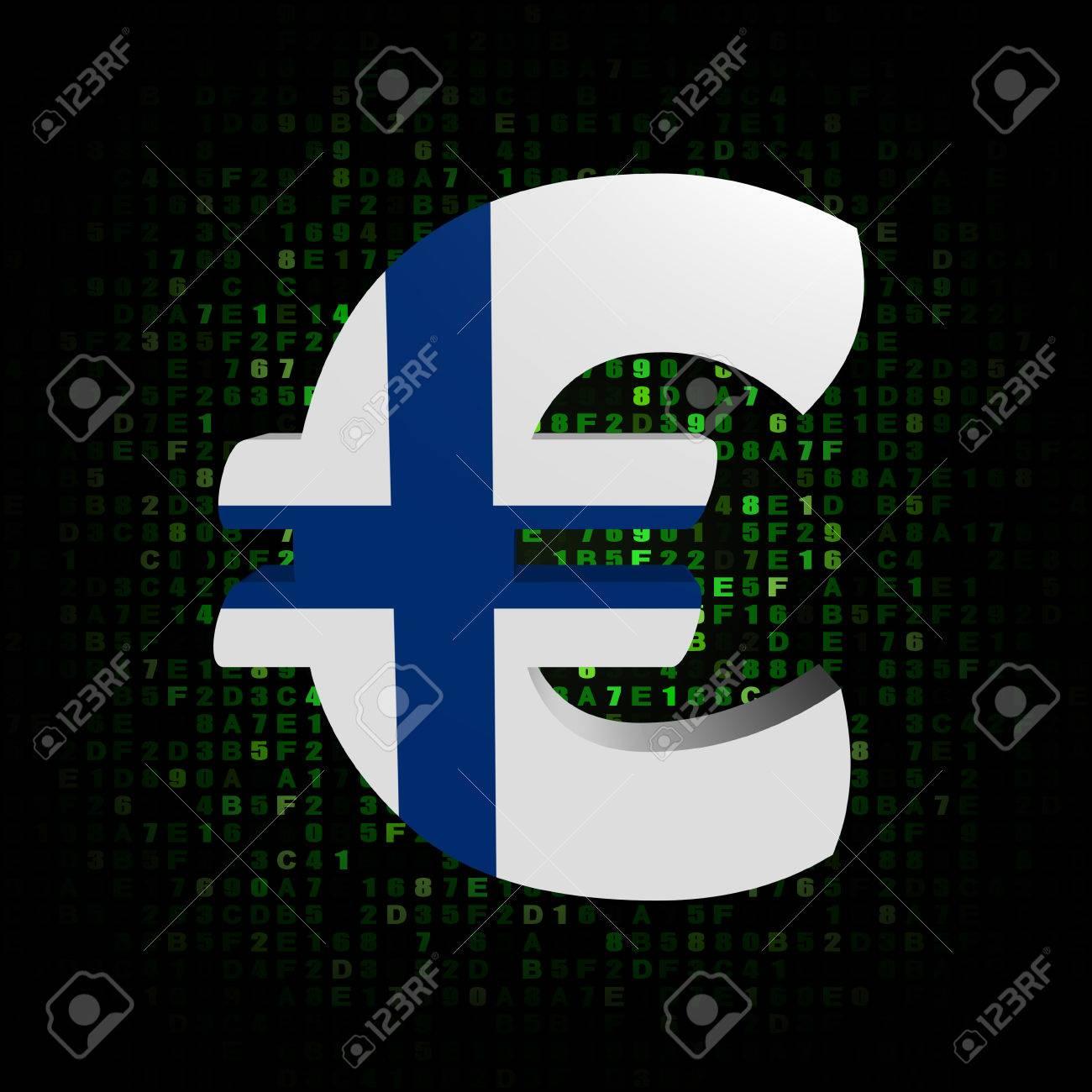 Euro Symbol With Finnish Flag On Hex Code Illustration Stock Photo