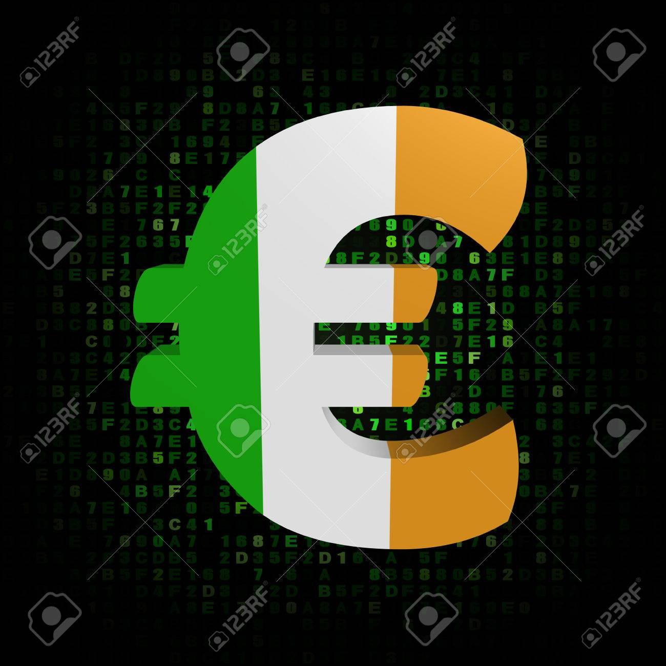 Euro Symbol With Irish Flag On Hex Code Illustration Stock Photo
