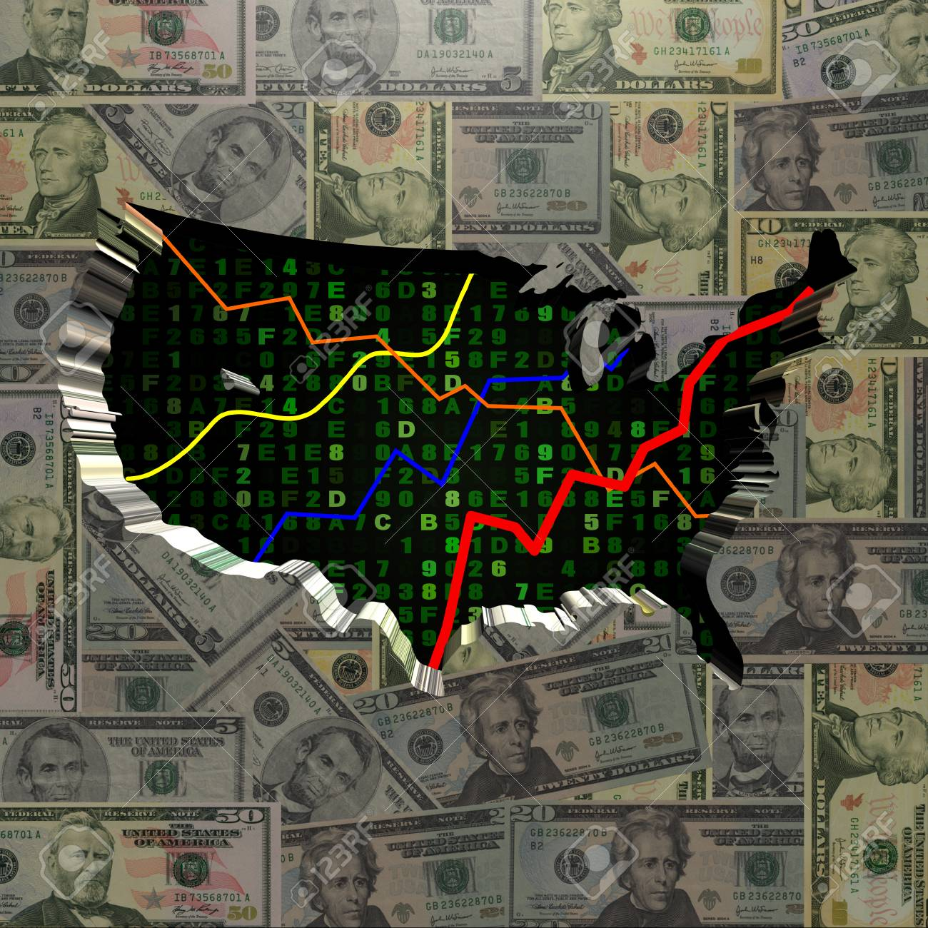 USA Map With Hex Code And Graphs On Dollars Illustration Stock Photo ...
