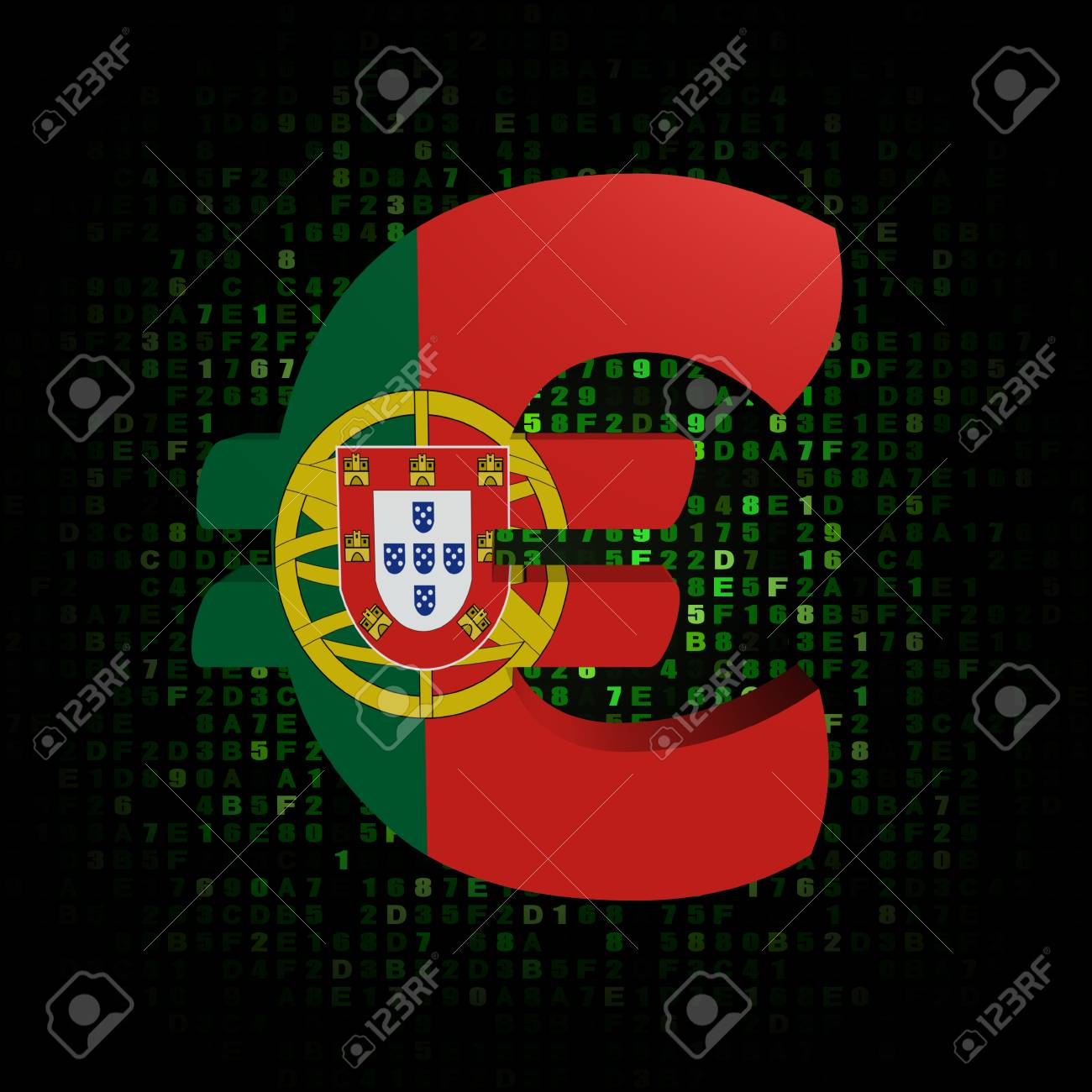 Euro Symbol With Portugal Flag On Hex Code Illustration Stock Photo