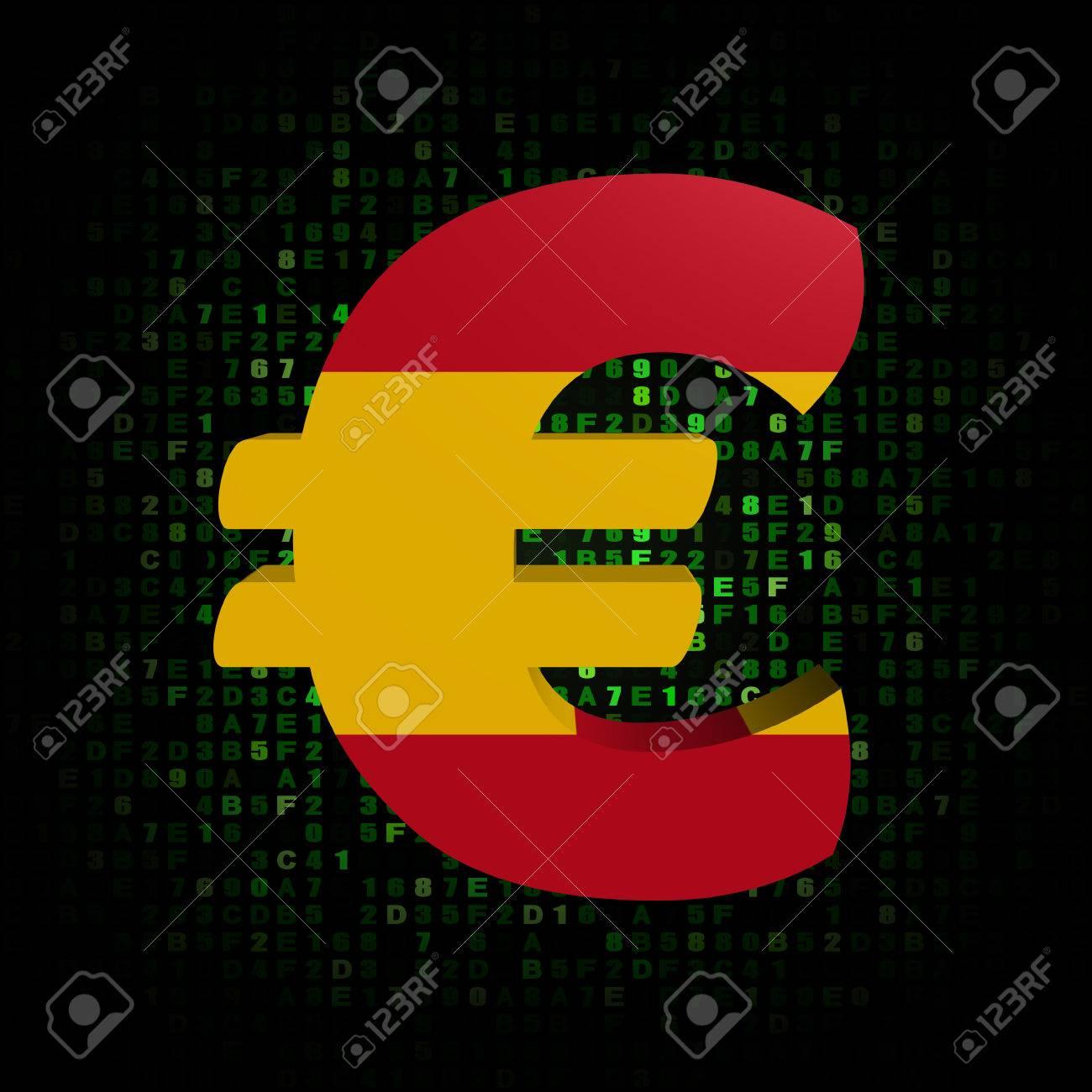 Euro Symbol With Spanish Flag On Hex Code Illustration Stock Photo