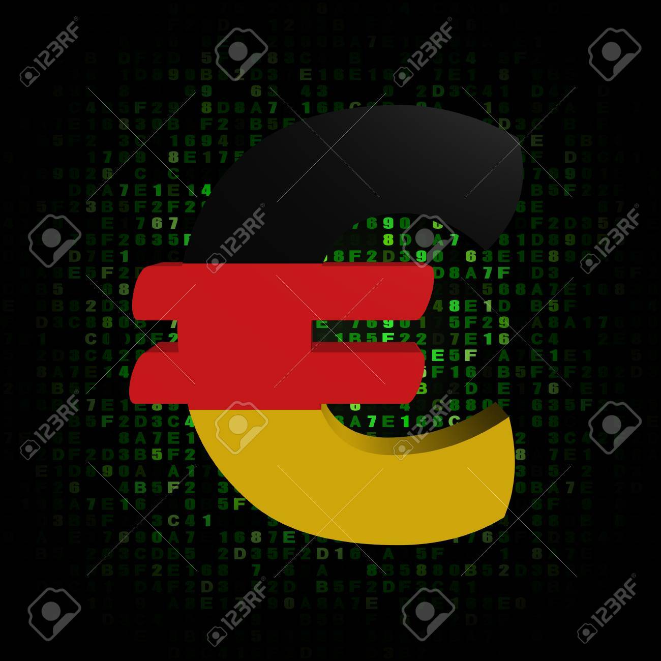 Euro Symbol With German Flag On Hex Code Illustration Stock Photo