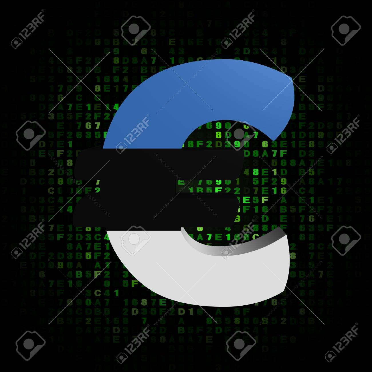 Euro Symbol With Estonian Flag On Hex Code Illustration Stock Photo