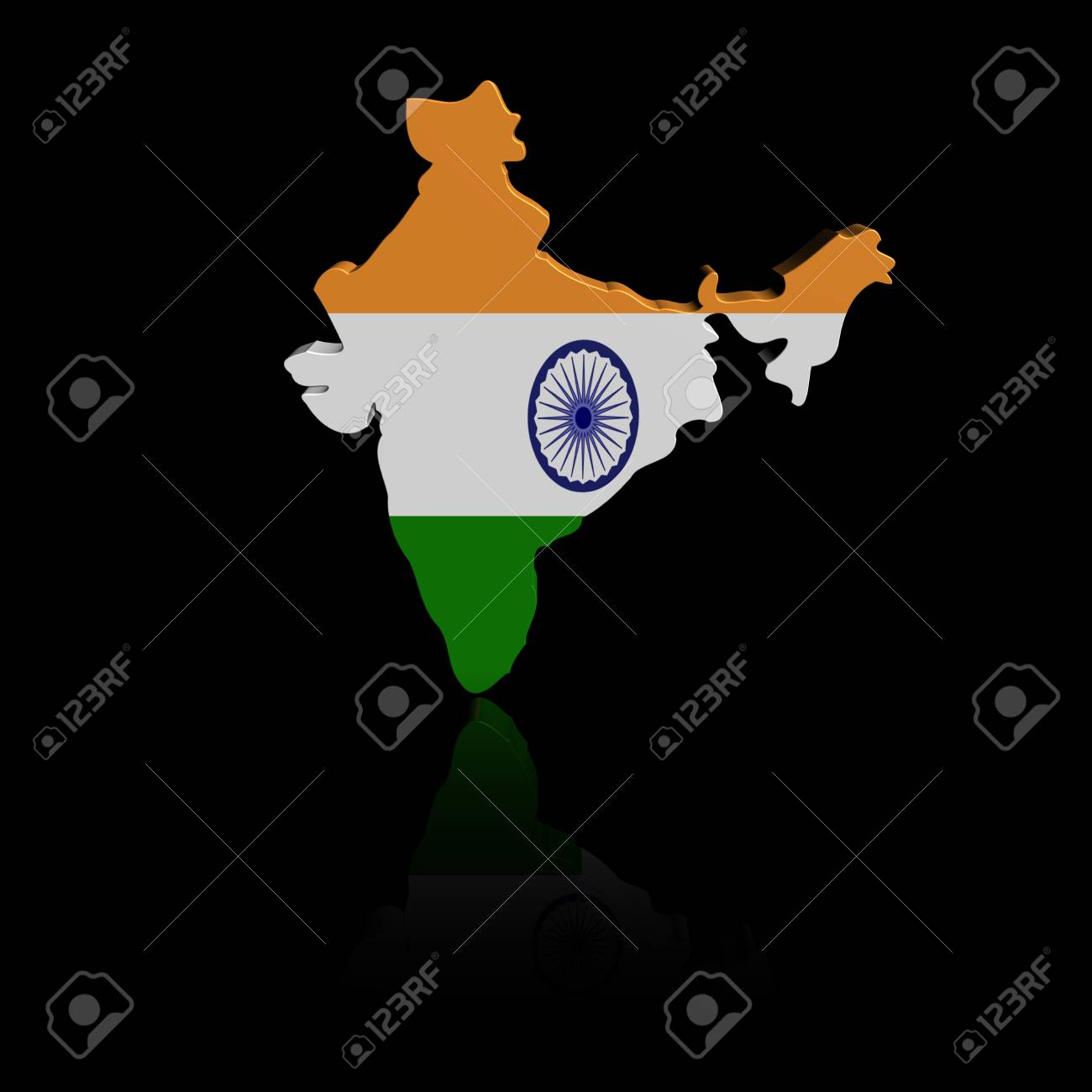 India Map Flag.India Map Flag With Reflection Illustration Stock Photo Picture And