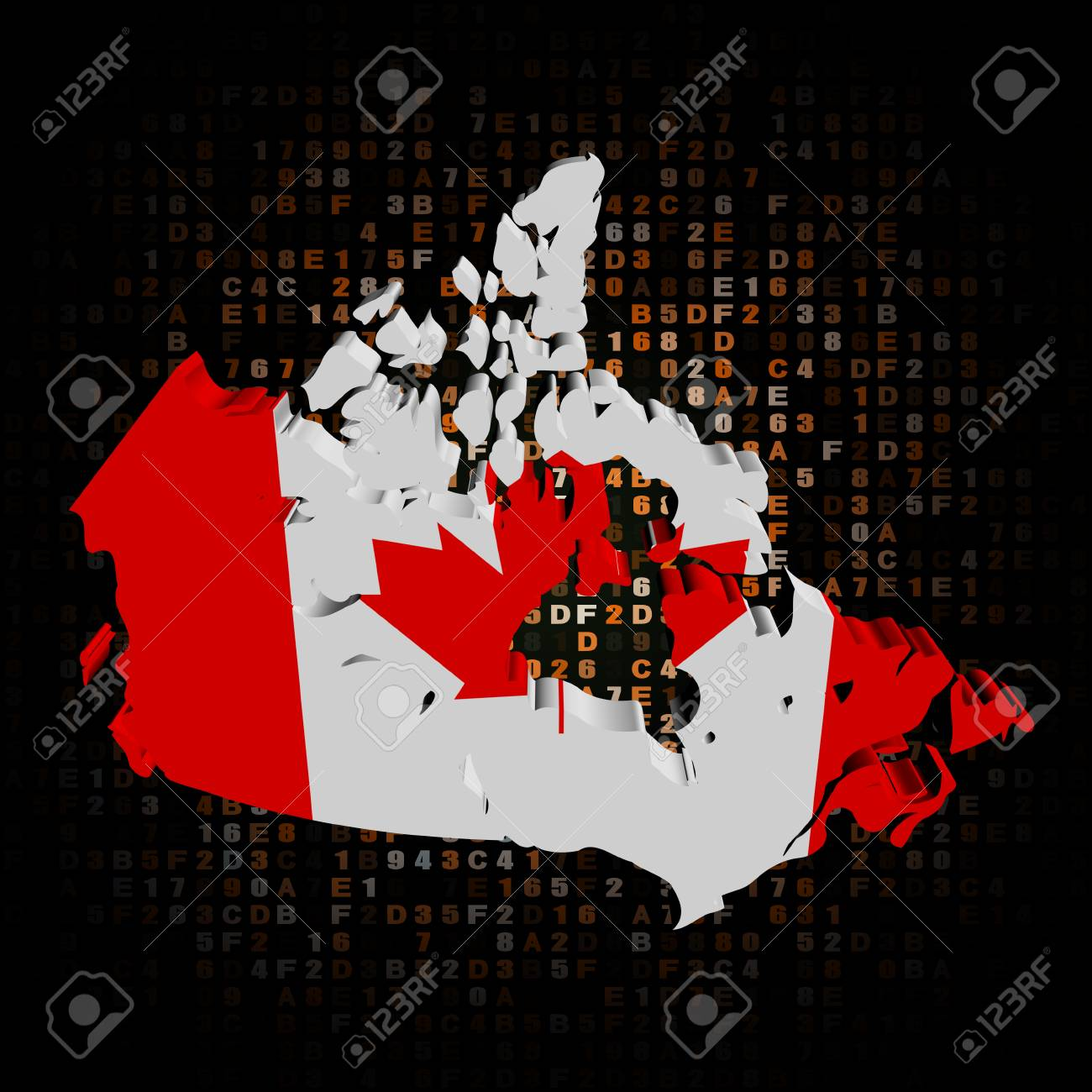 Canada Map Flag.Canada Map Flag On Hex Code Illustration Stock Photo Picture And