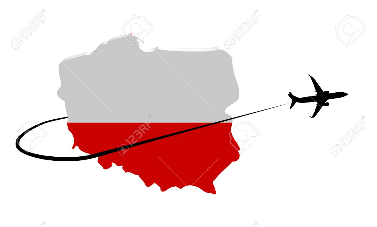 Poland Map Flag With Plane Silhouette And Swoosh 3d Illustration ...