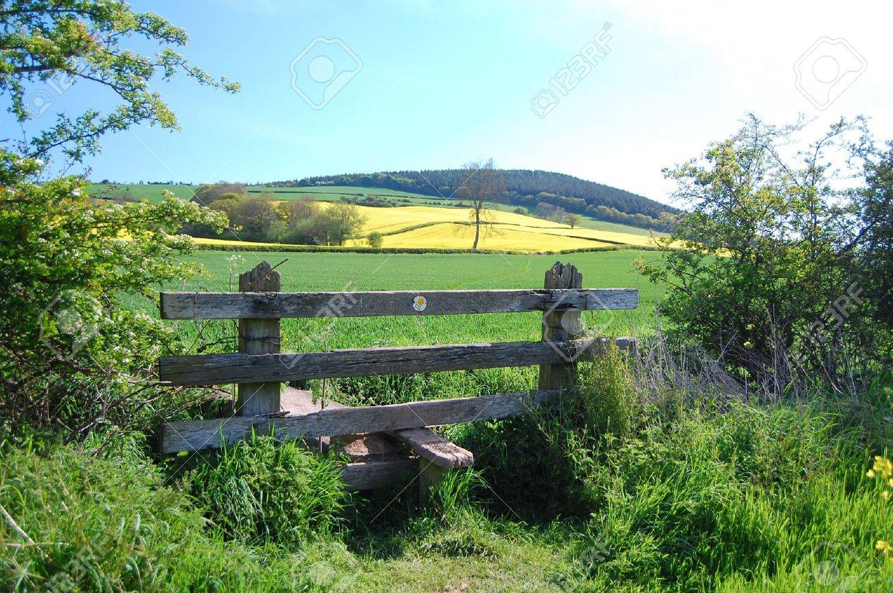 countryside fields and stile on shropshire walk Stock Photo - 11914196