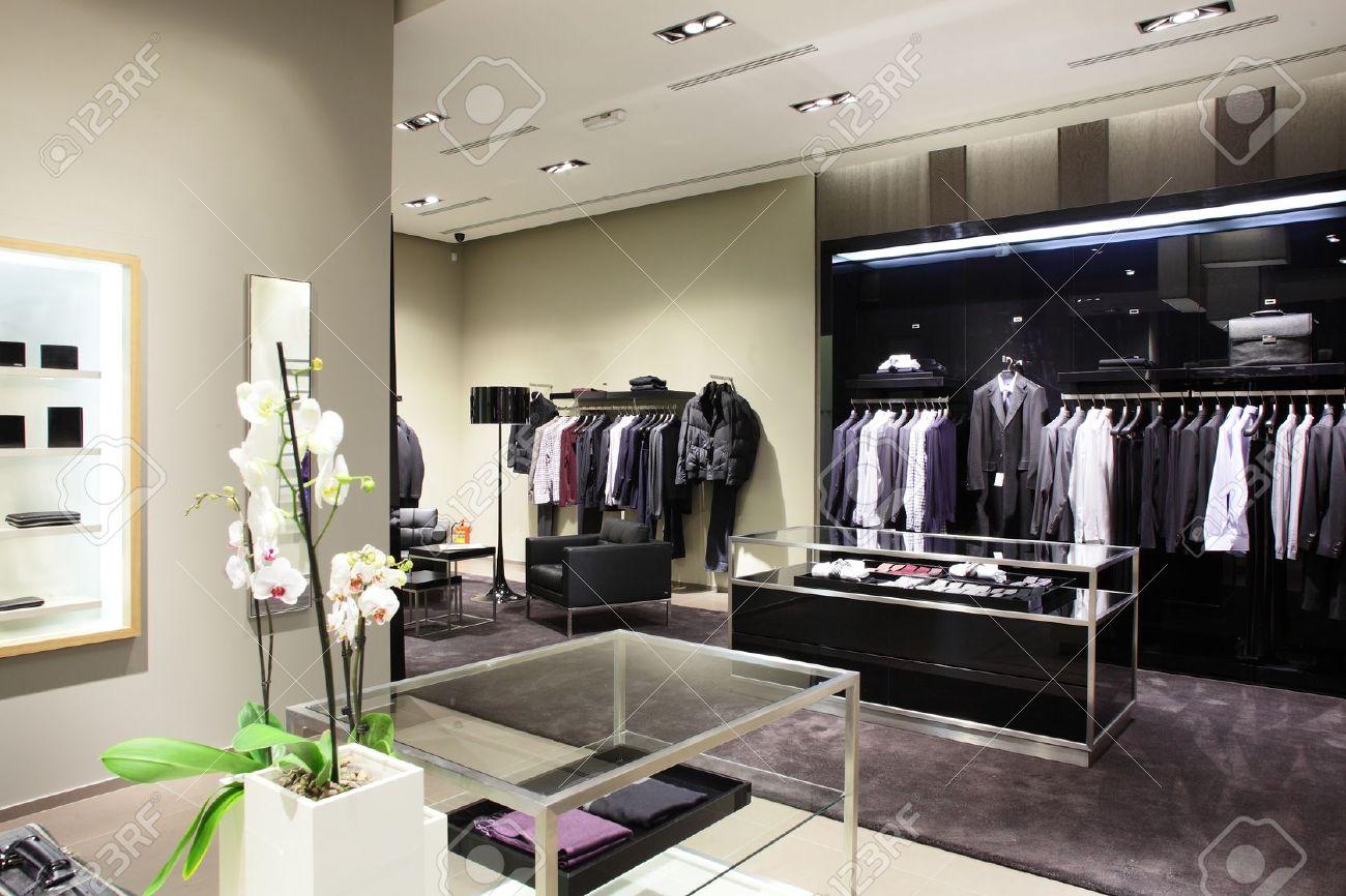 luxury stylish and modern fashion clothes store stock photo  - luxury stylish and modern fashion clothes store stock photo