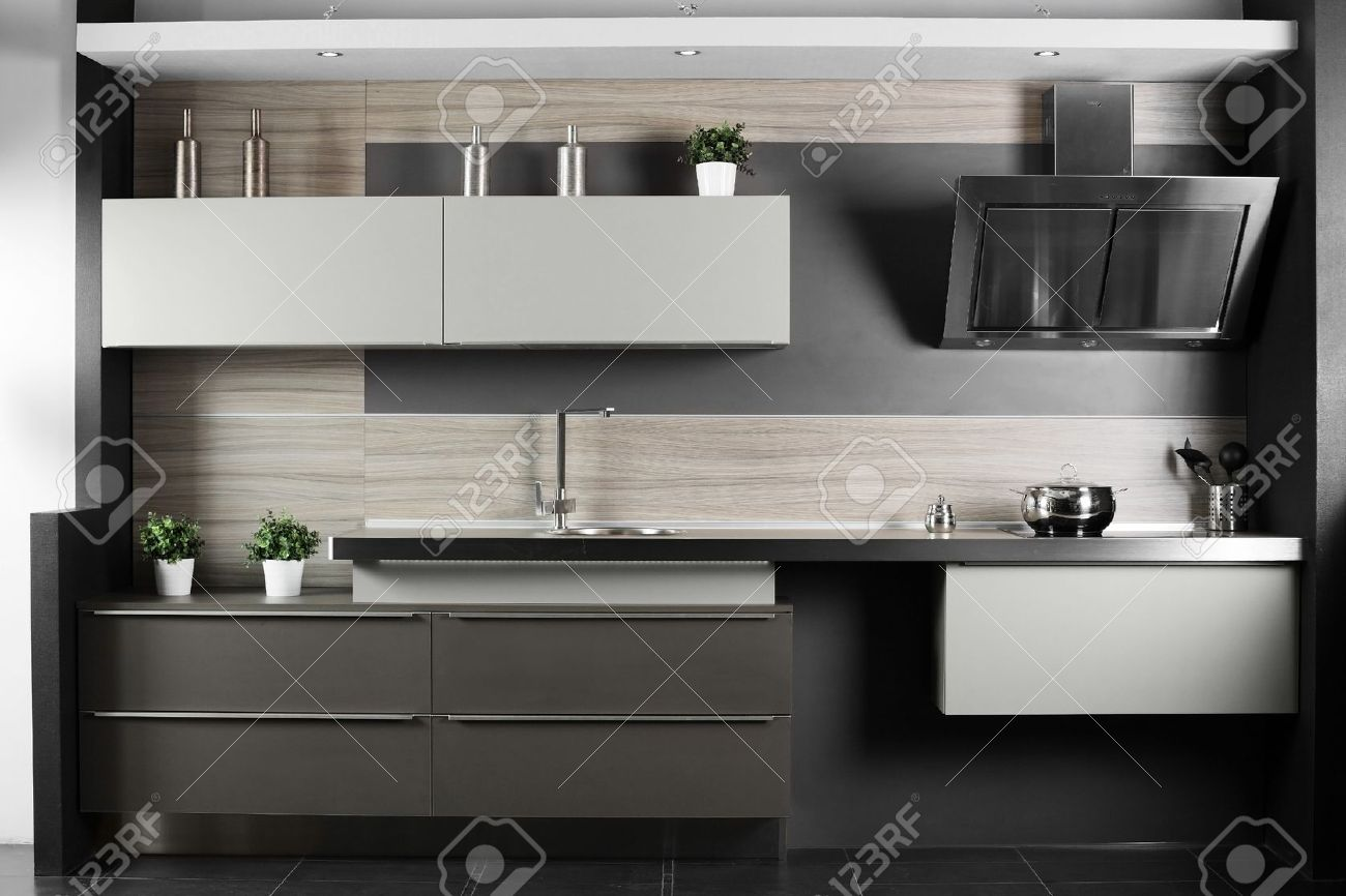 Stylish Kitchen Interior Of Brand New Modern And Stylish Kitchen Stock Photo