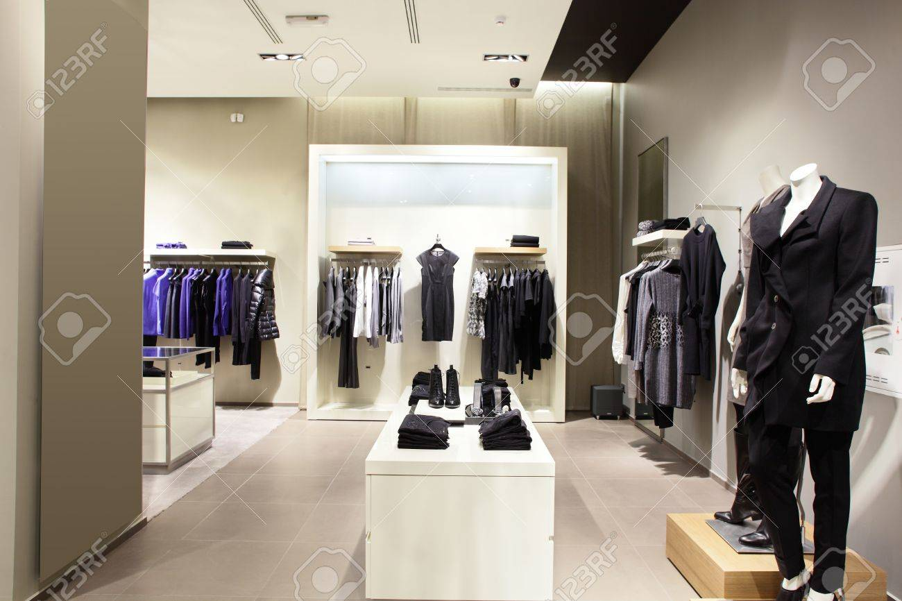 c27f8271ee1a luxury and fashionable european different clothes shop Stock Photo -  22137676