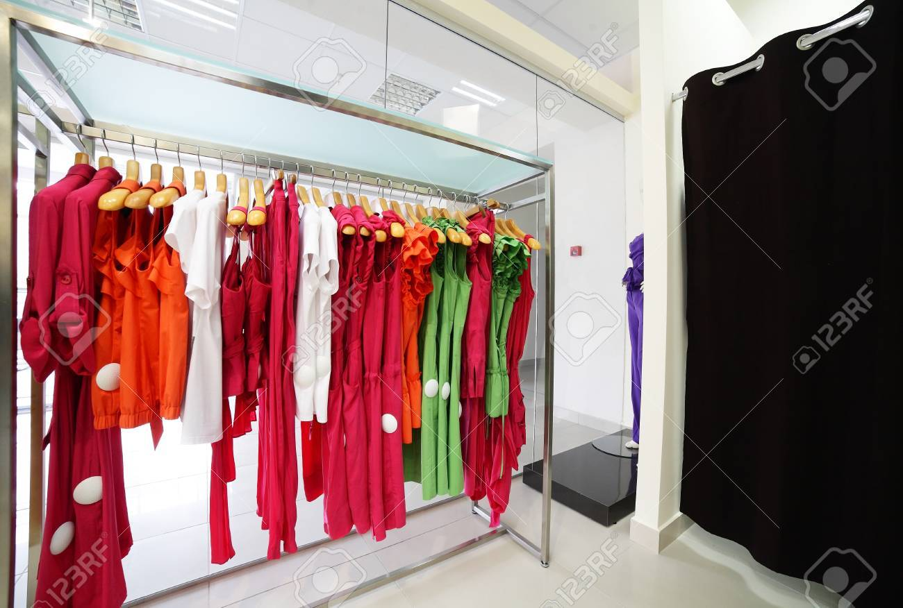 6d42921f2d43 luxury and fashionable european different clothes shop Stock Photo -  22857583