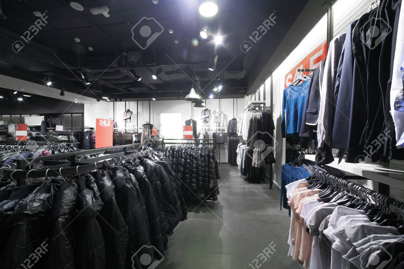 european clothing store interior in modern mall