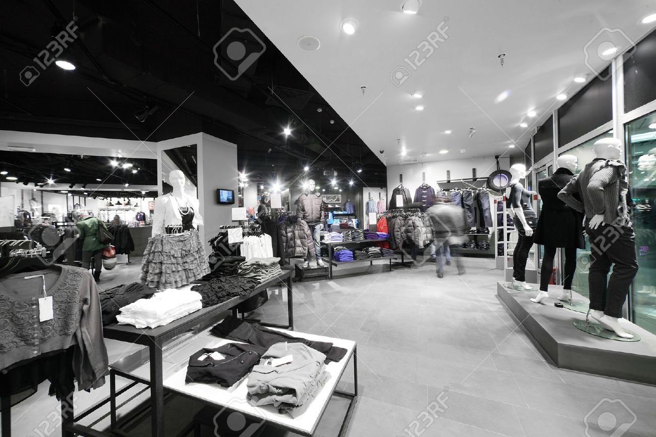 european clothing store interior in modern mall stock photo  - european clothing store interior in modern mall stock photo