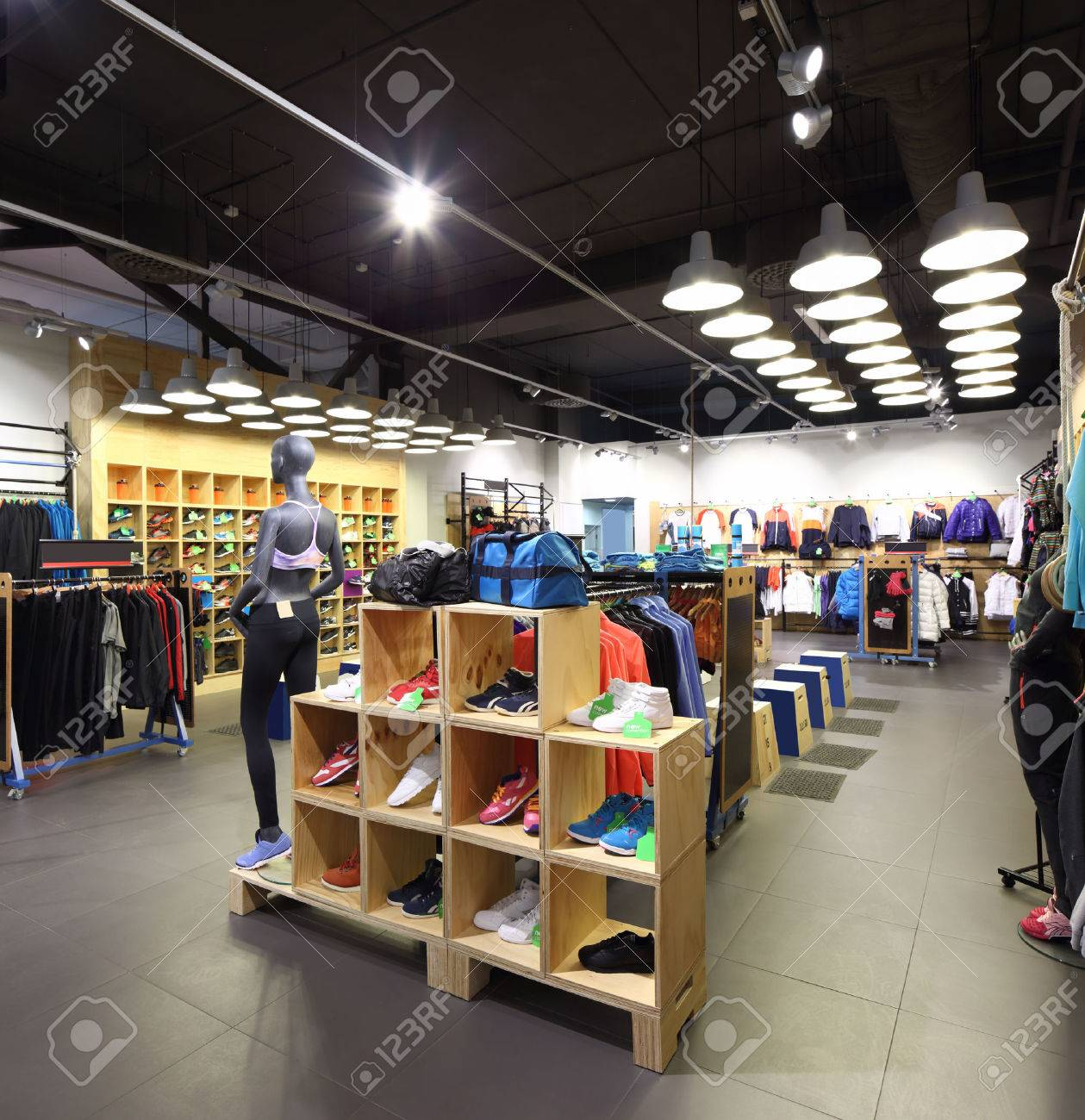 luxury and fashionable brand new interior of cloth store - 30425090