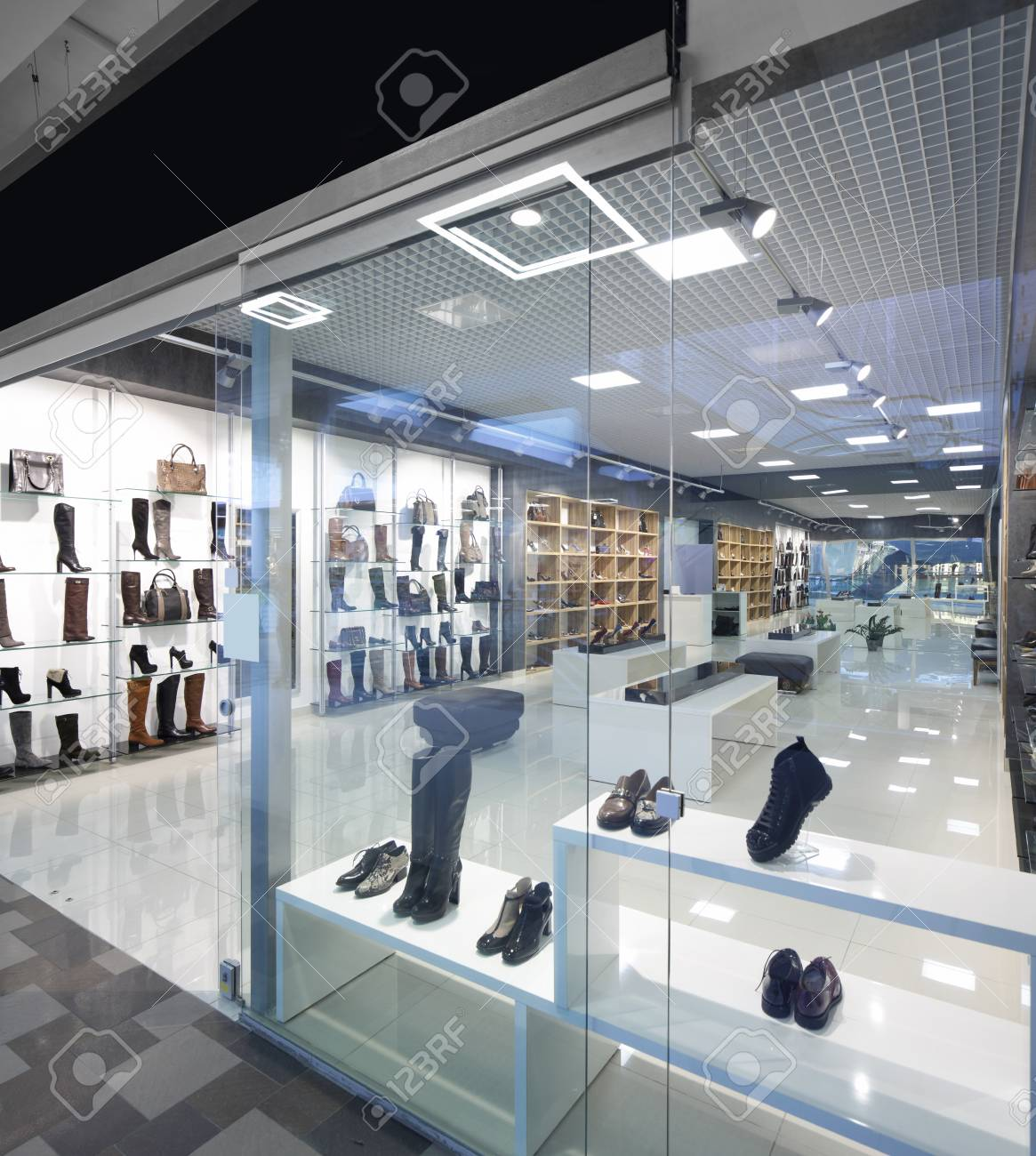 bright and fashionable window of modern european store - 31384054