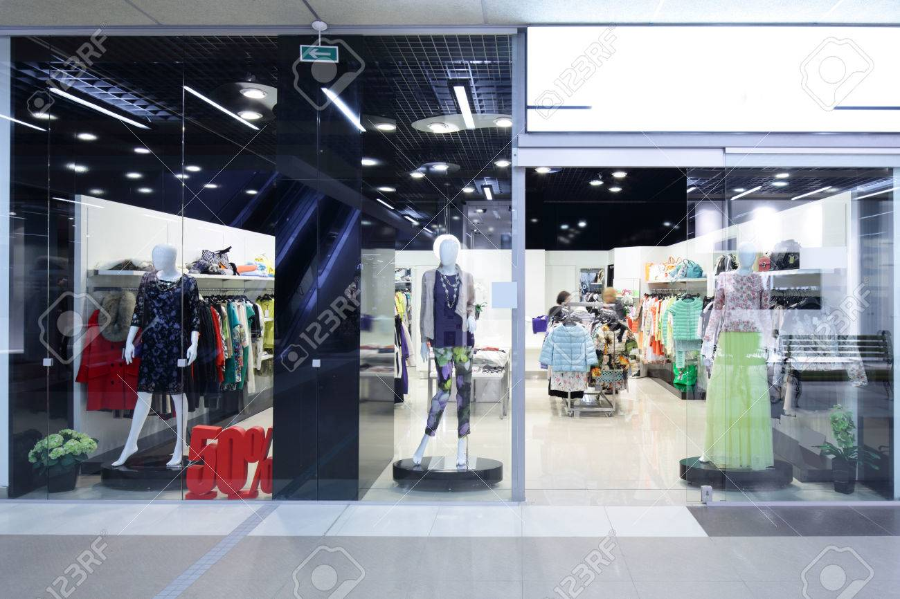 bright and fashionable window of modern european store - 32339818
