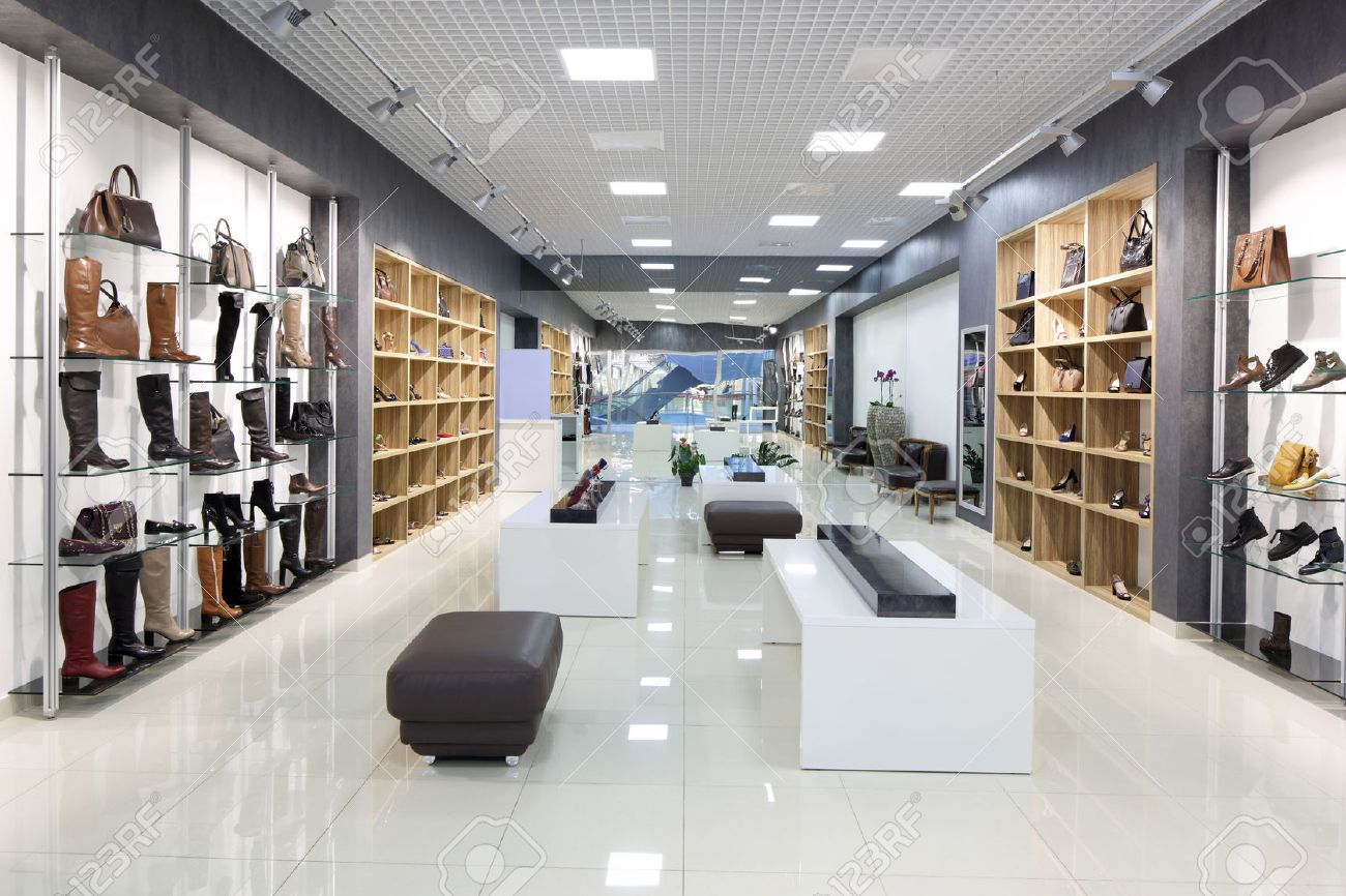 Bright And Fashionable Interior Of Shoe Store In Modern Mall Stock Photo    31384115