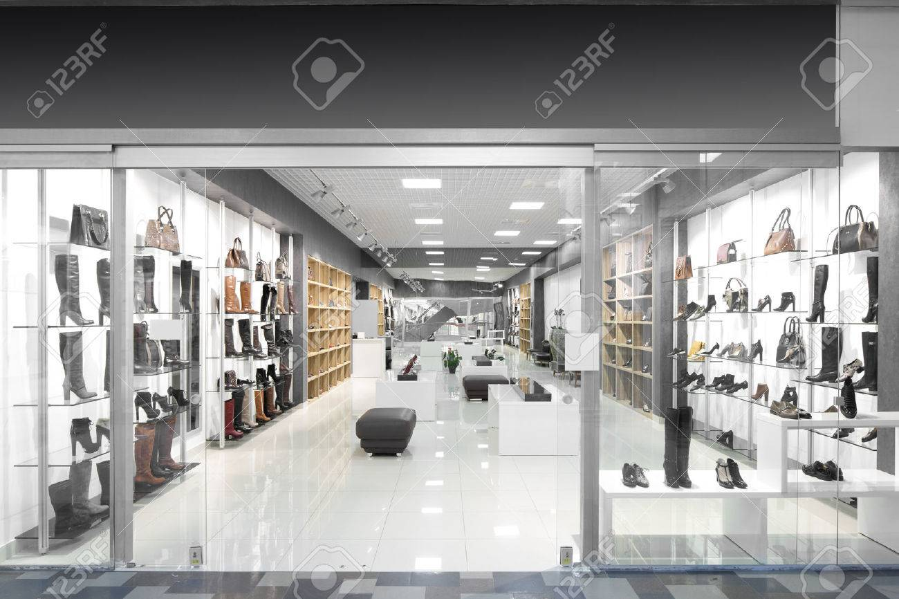 bright and fashionable window of modern european store - 31384123