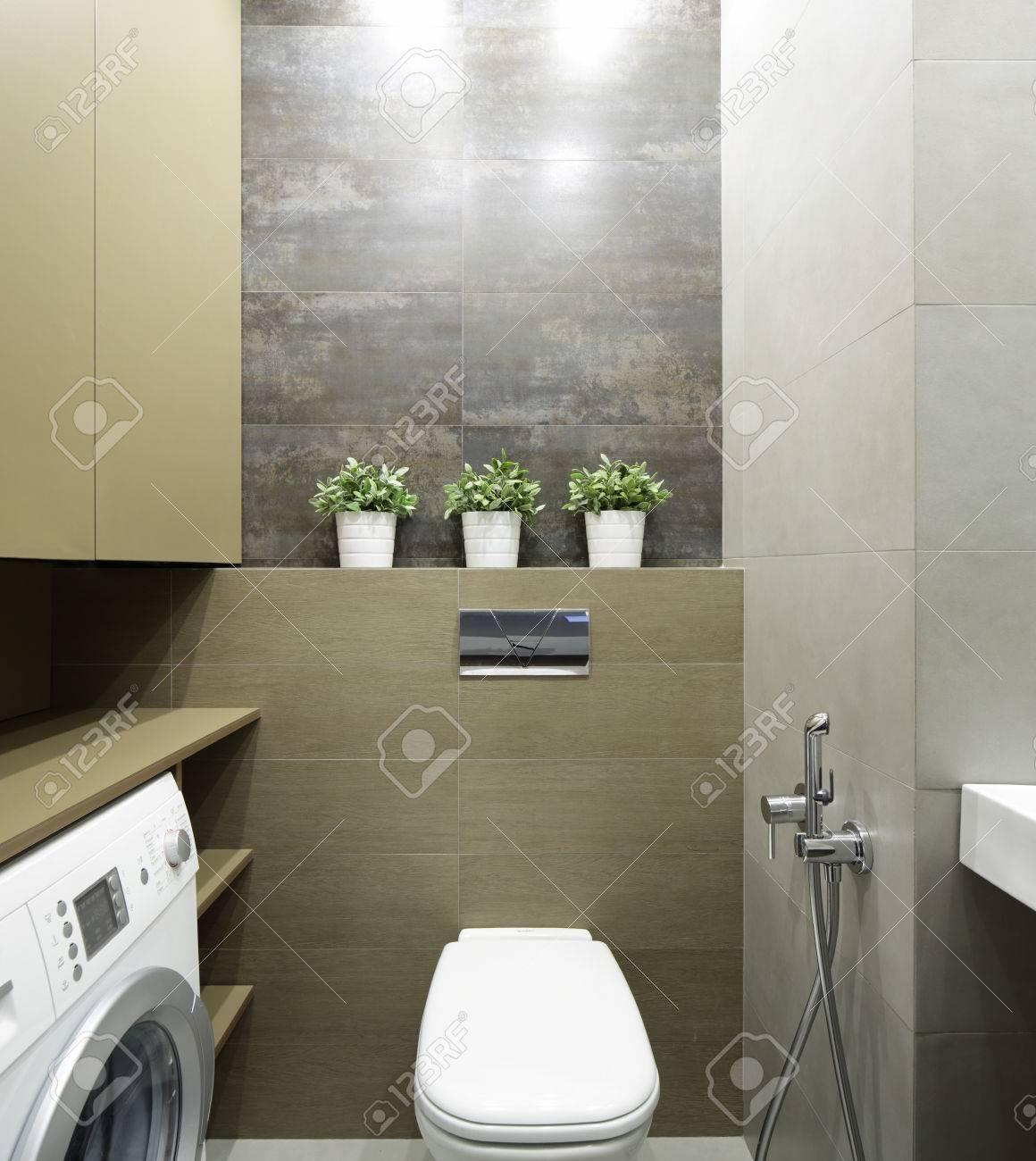 Bel intérieur de toilettes modernes dans des couleurs vives