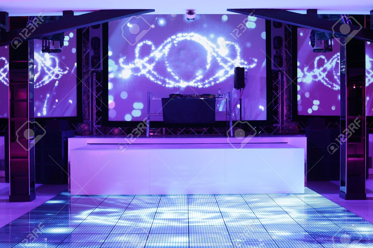 colorful interior of bright and beautiful night club - 32445537