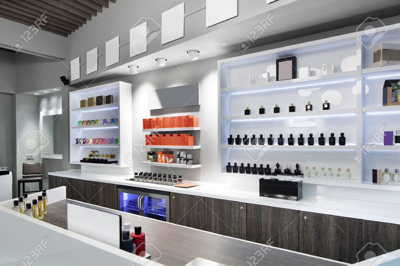 light and stylish luxury perfume store with famous fragance - 32432247