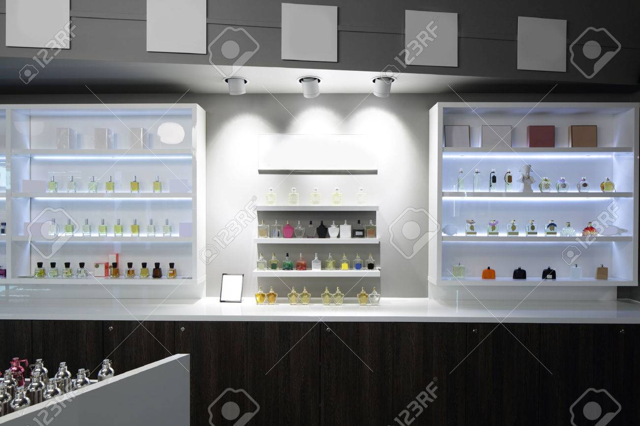 light and stylish luxury perfume store with famous fragance - 32342833