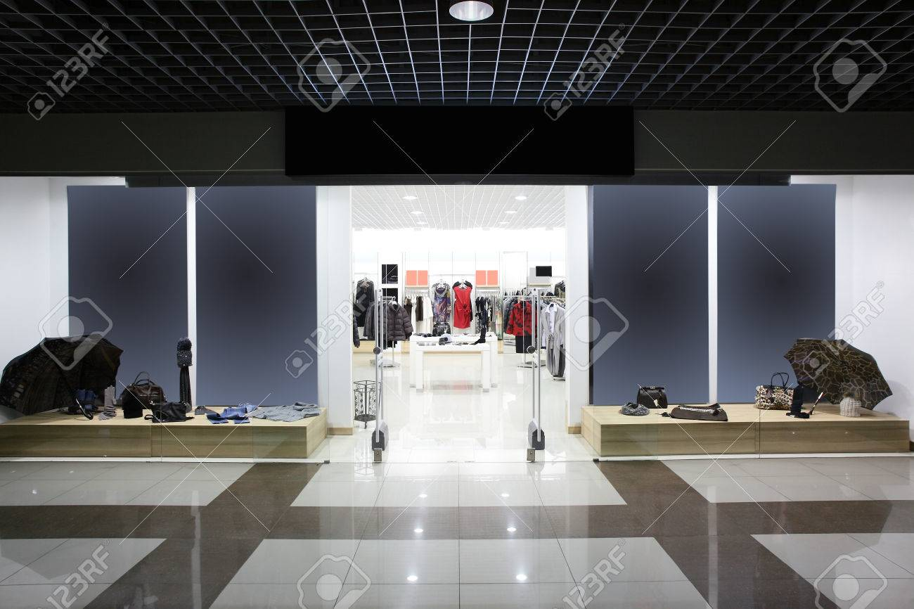 bright and fashionable window of modern european store - 34259585