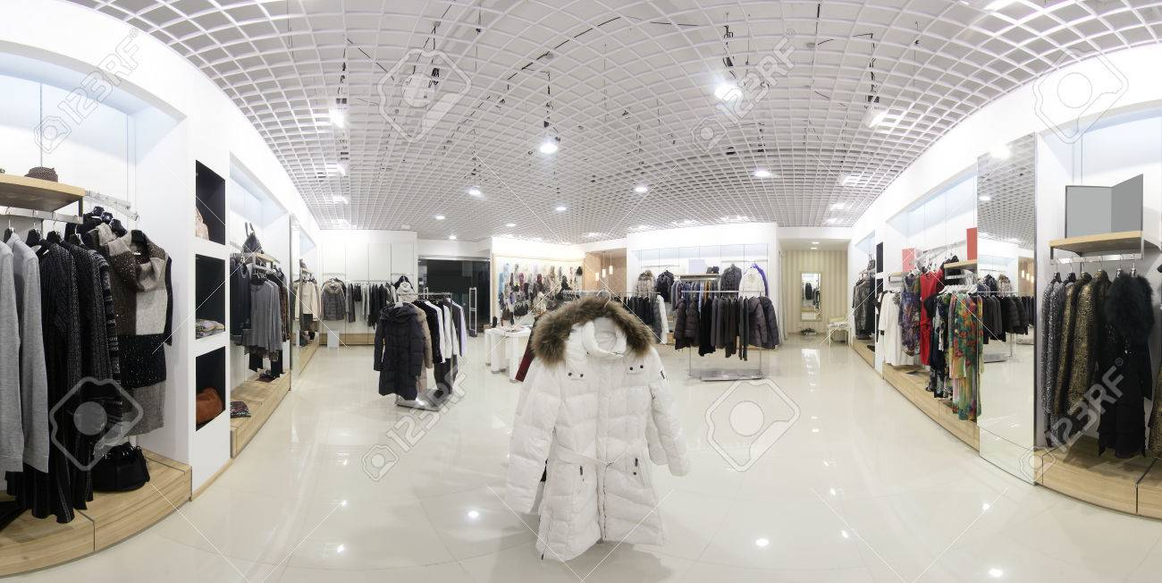 luxury and fashionable brand new interior of cloth store - 35288651