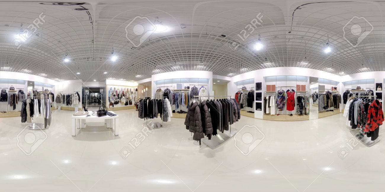 luxury and fashionable brand new interior of cloth store - 34297296
