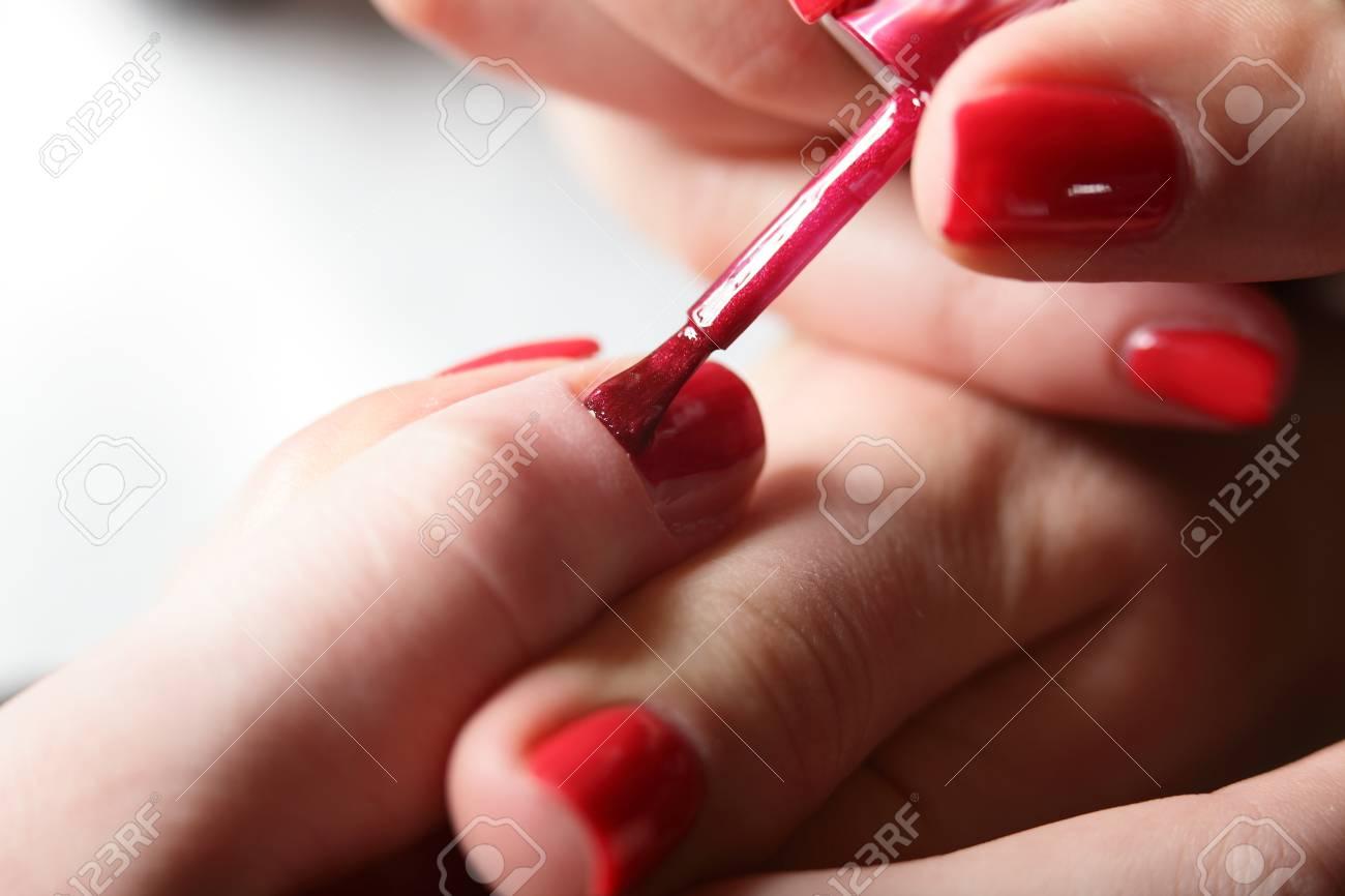 Nails Care Of European Girl In Modern Beauty Salon Stock Photo ...