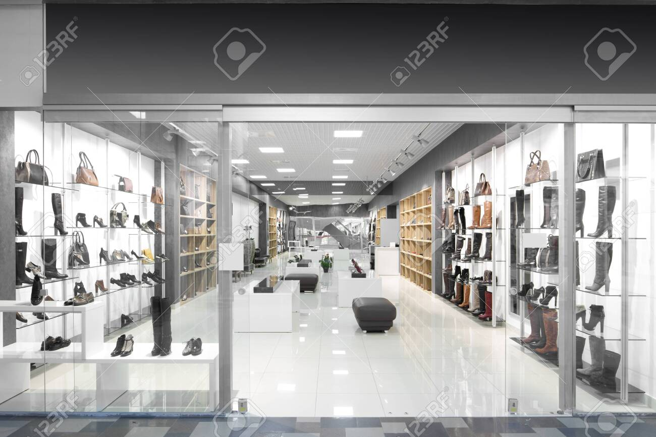 bright and fashionable window of modern european store - 151385432
