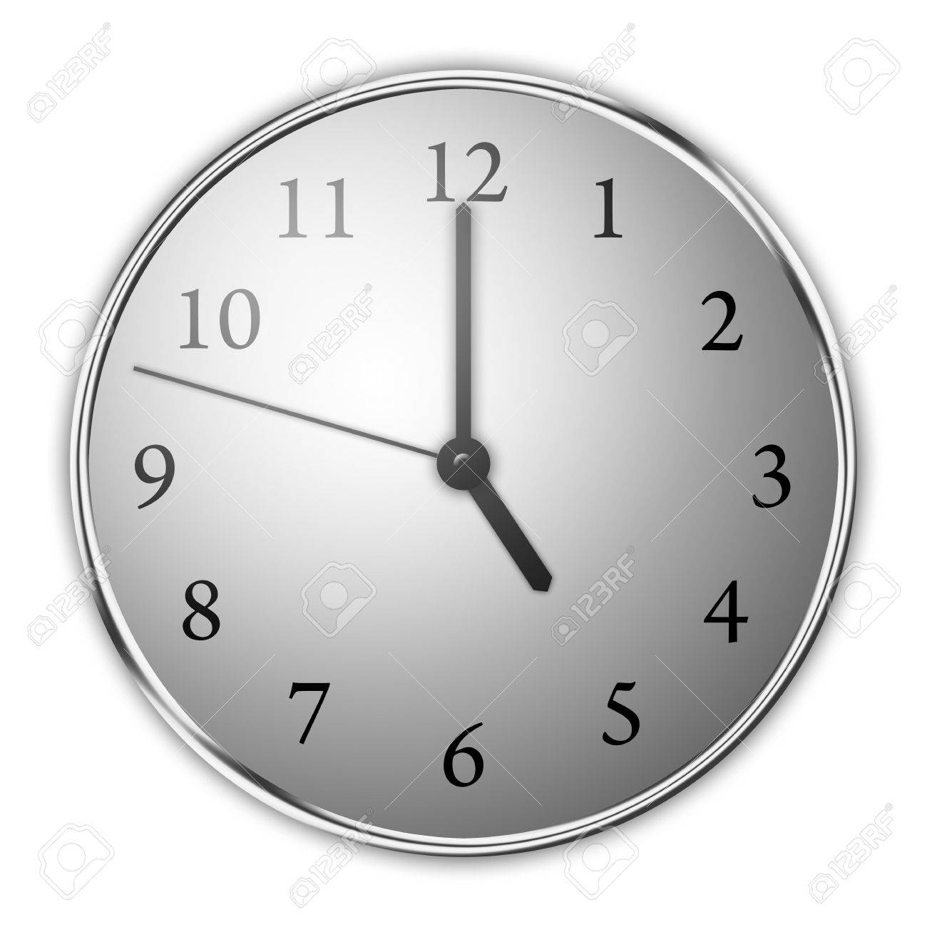 Clock on a white background showing close to five. Aluminum framing and dunamic lighting. Stock Photo - 5227025