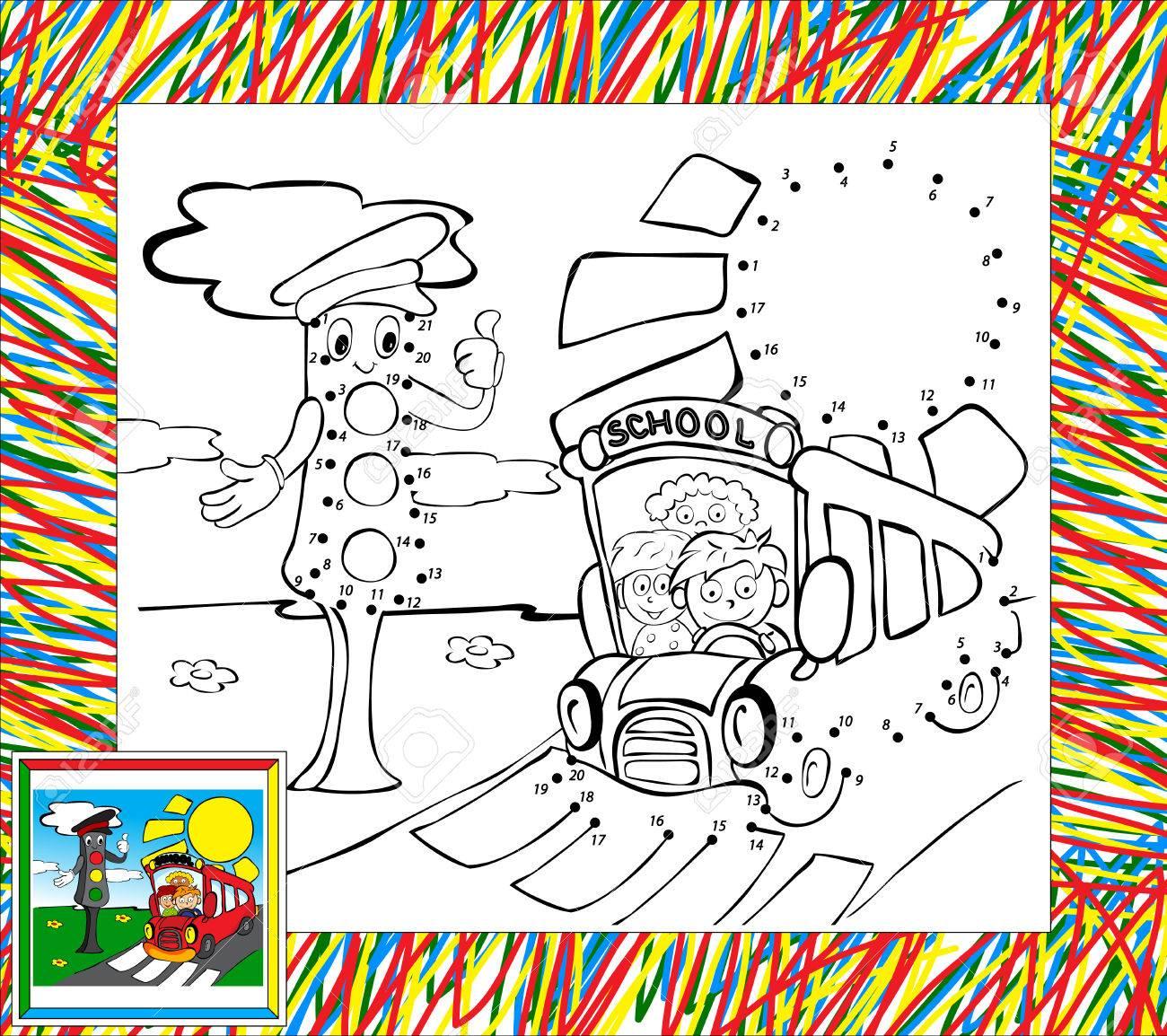Libro Para Colorear Con La Frontera. Luces Divertidos De Autobuses Y ...