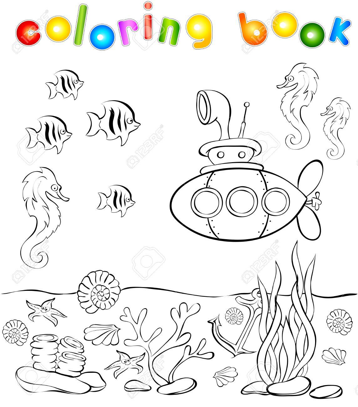 Mundo Subacuático Con Libro Para Colorear Submarino. Ilustración ...