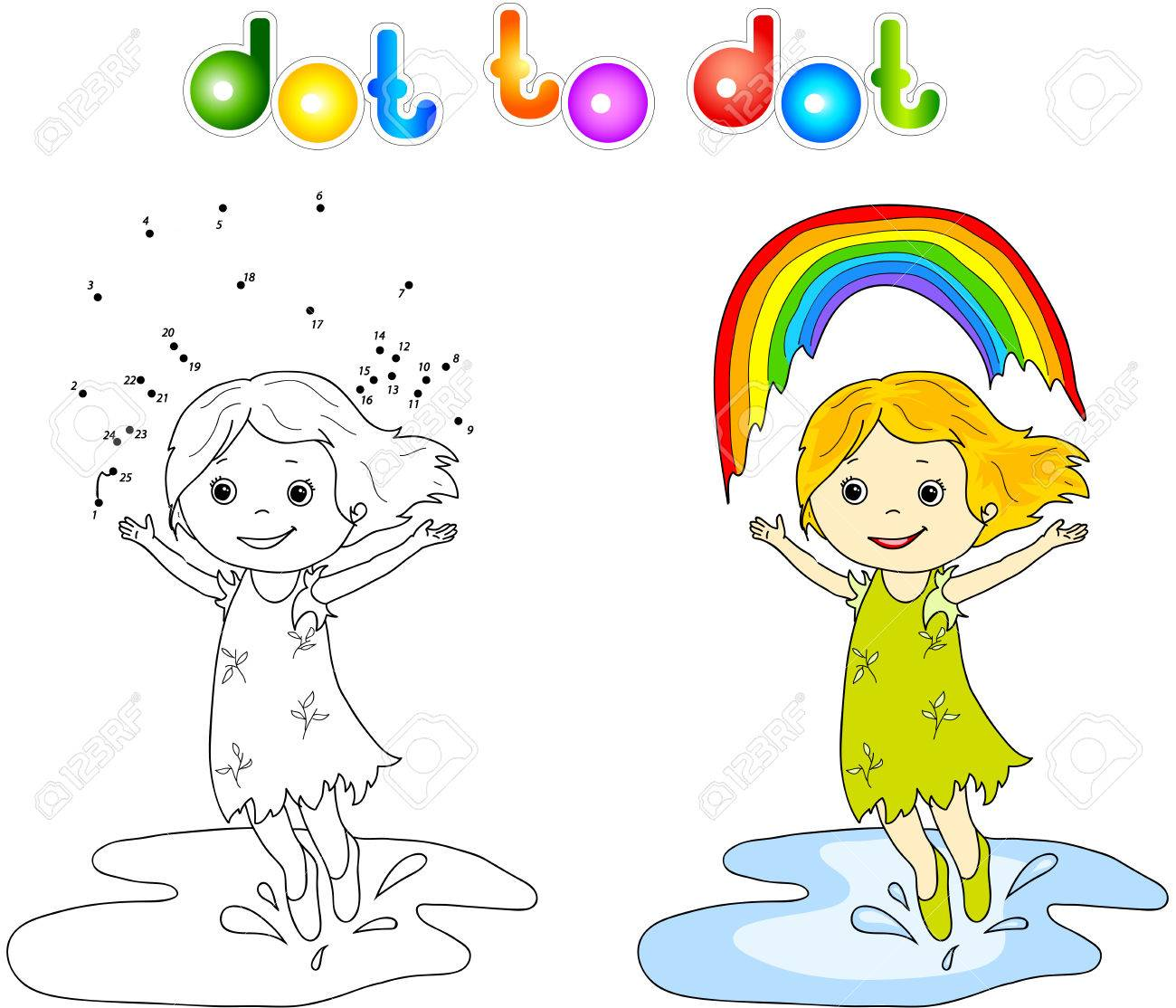 Girl Dancing With Rainbow Dot To Dot. Coloring Book For Children ...